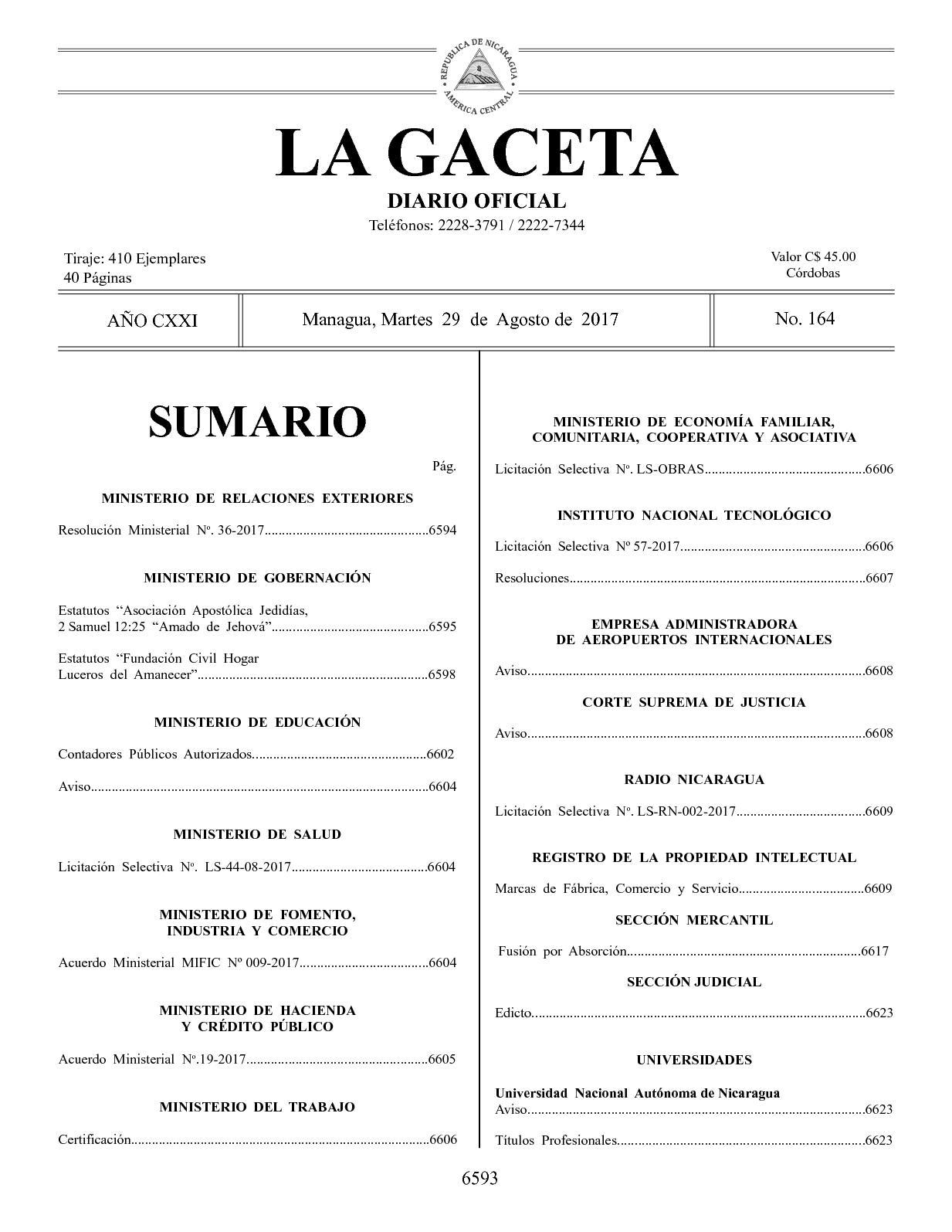 Gaceta No 164 Martes 29 De Agosto De 2017