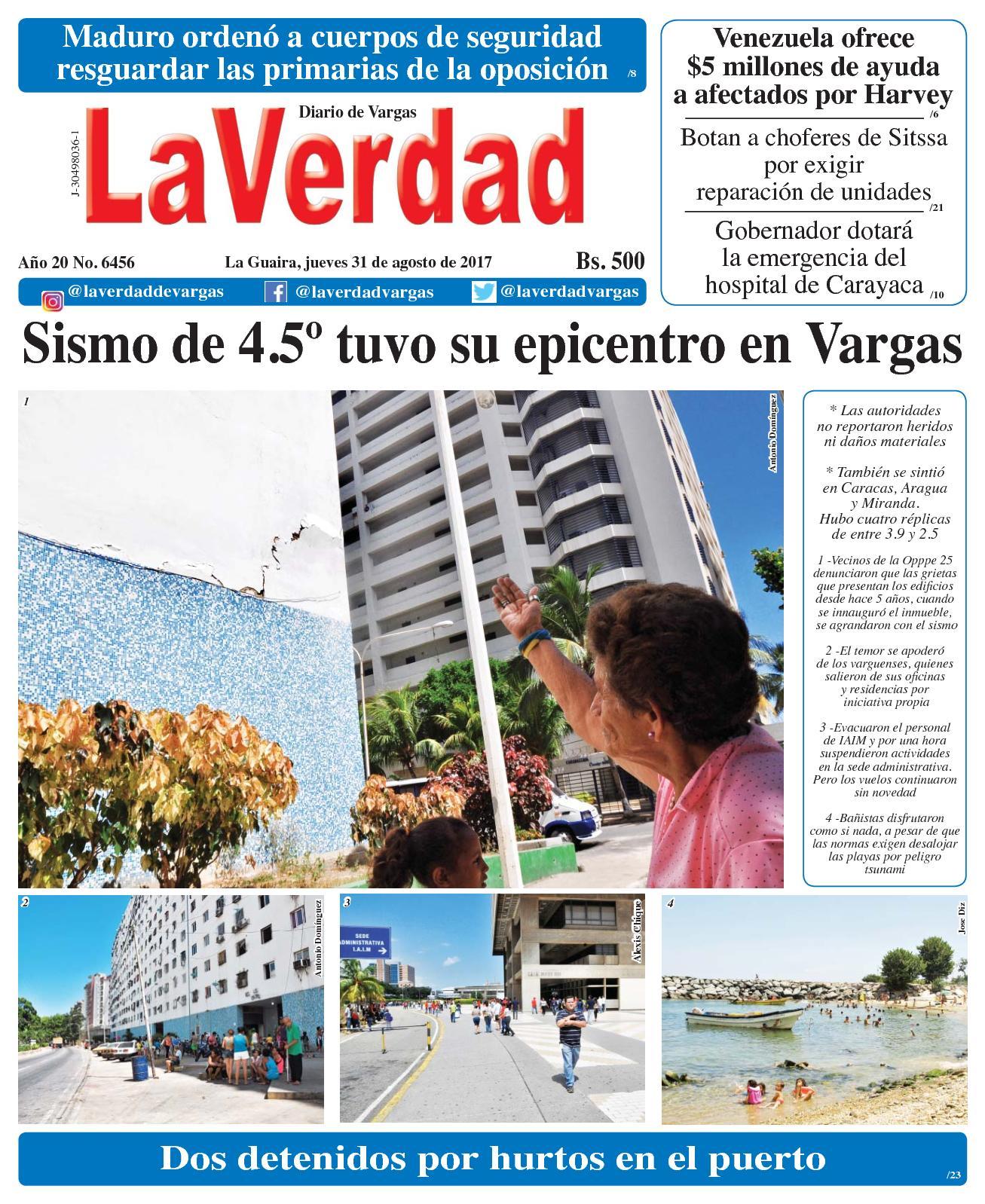 La Guaira, jueves 31 de Agosto de 2017. Año 20 No. 6456