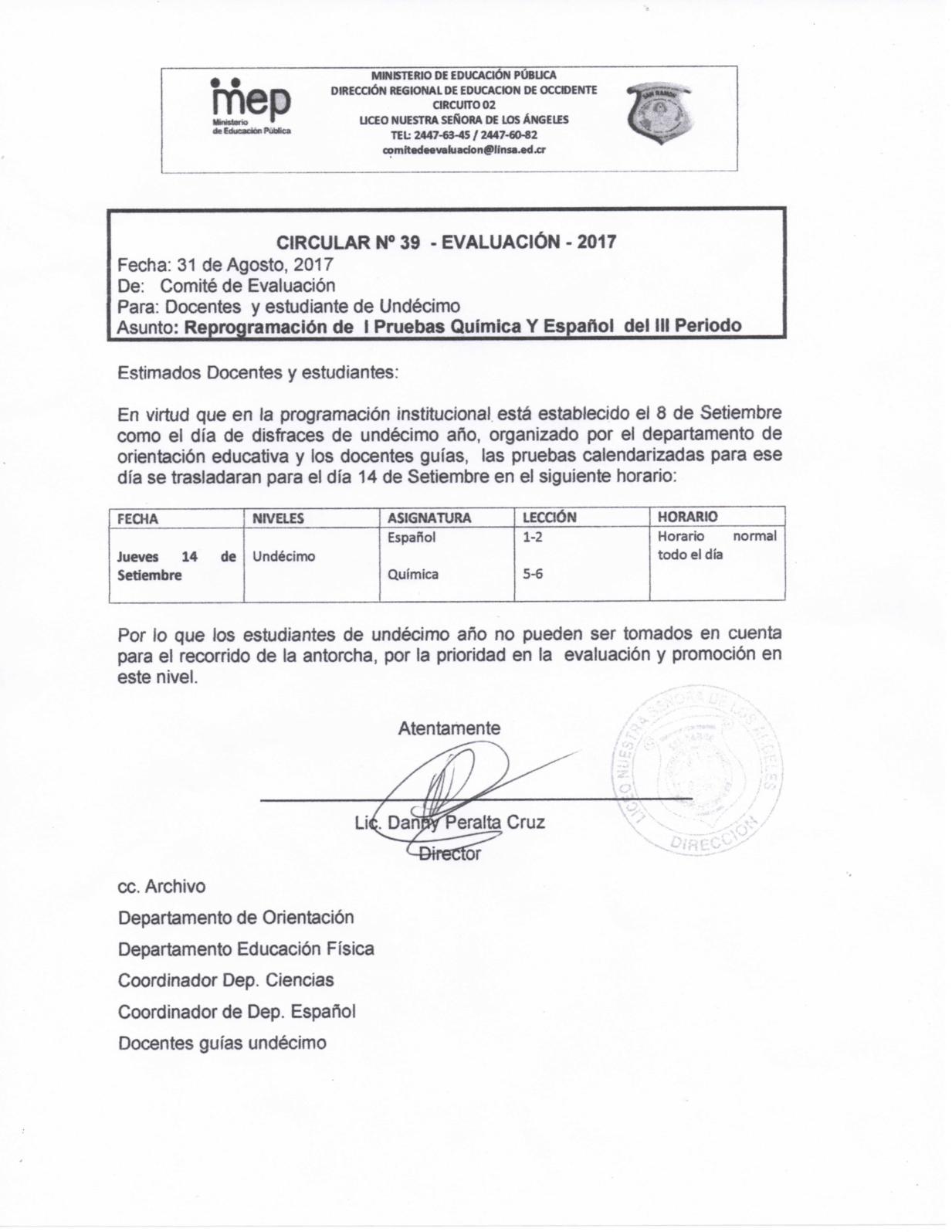 Reprogramacidn De I Pruebas Quimica Y Español Del  III Periodo