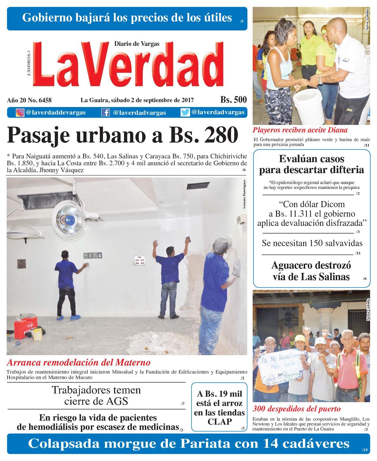 La Guaira, sábado 02 de septiembre de 2017. Año 20 No. 6458