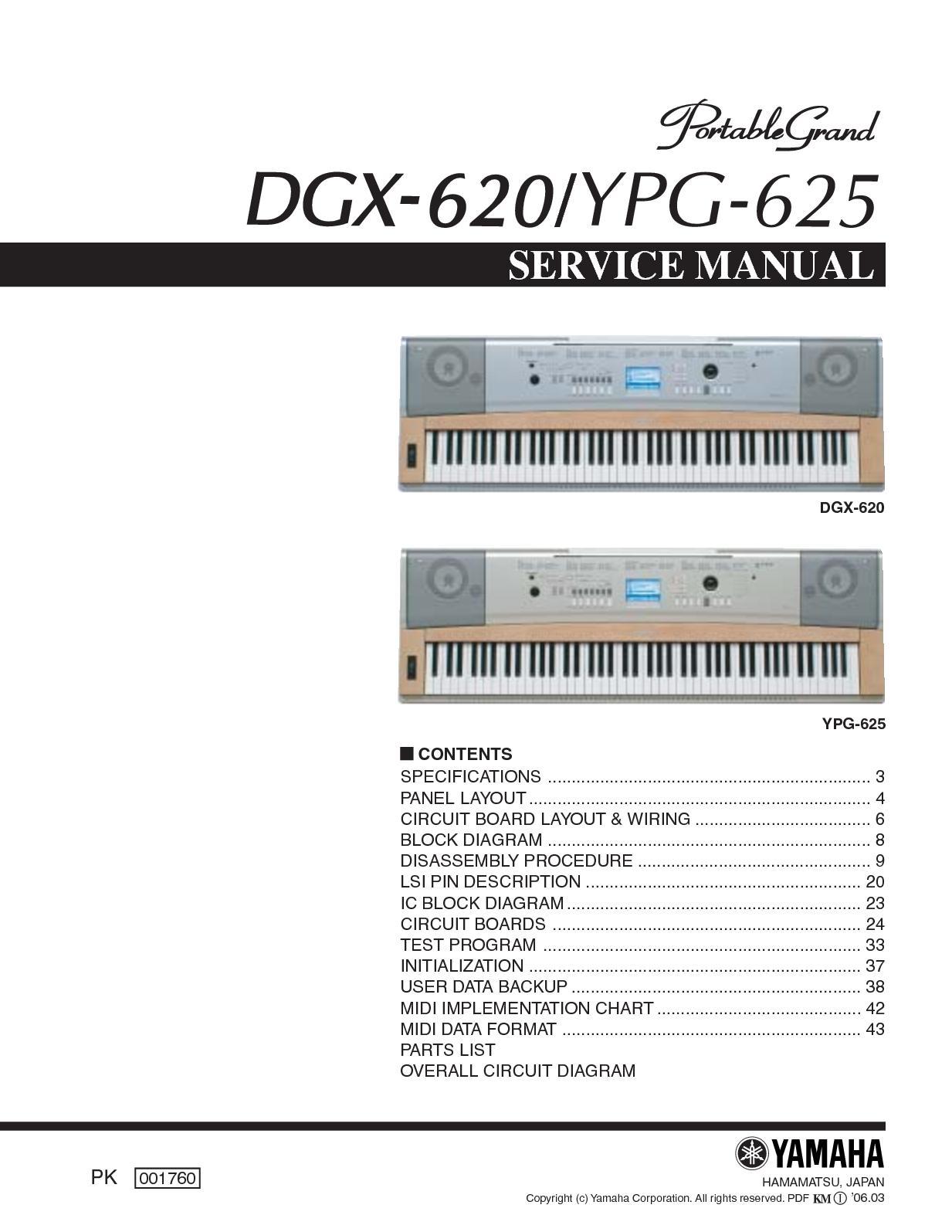 Calamo Yamaha Dgx 620 Ypg 625 Service Manual Usb Midi Wiring Diagram