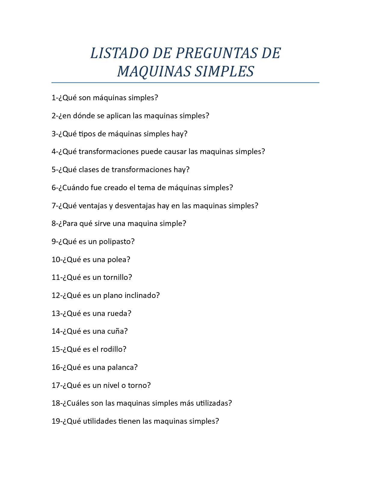 Listado De Preguntas De Maquinas Simples
