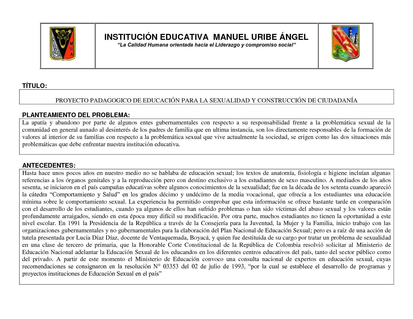 Proyecto Pedagogico De Educacion Sexual Y Construccion De Ciudadania