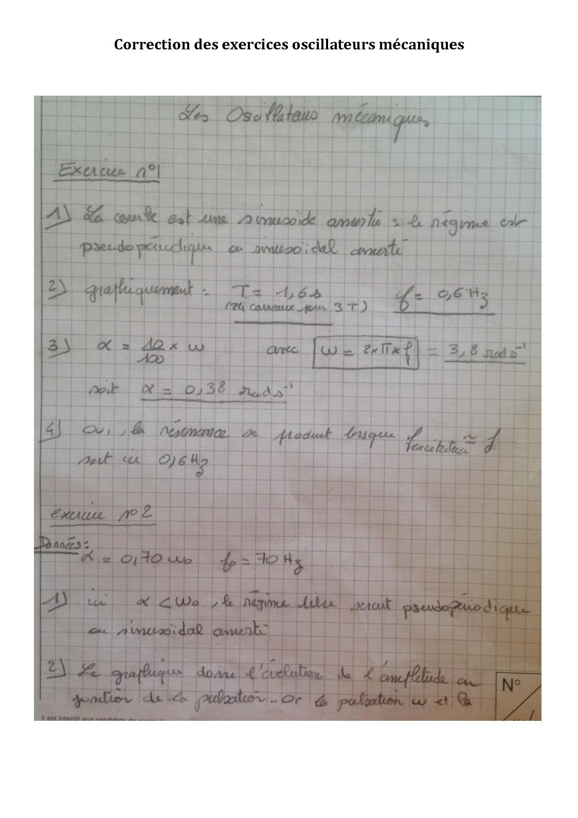 BTS2 Correction Des Exercices Oscillateurs Mécaniques