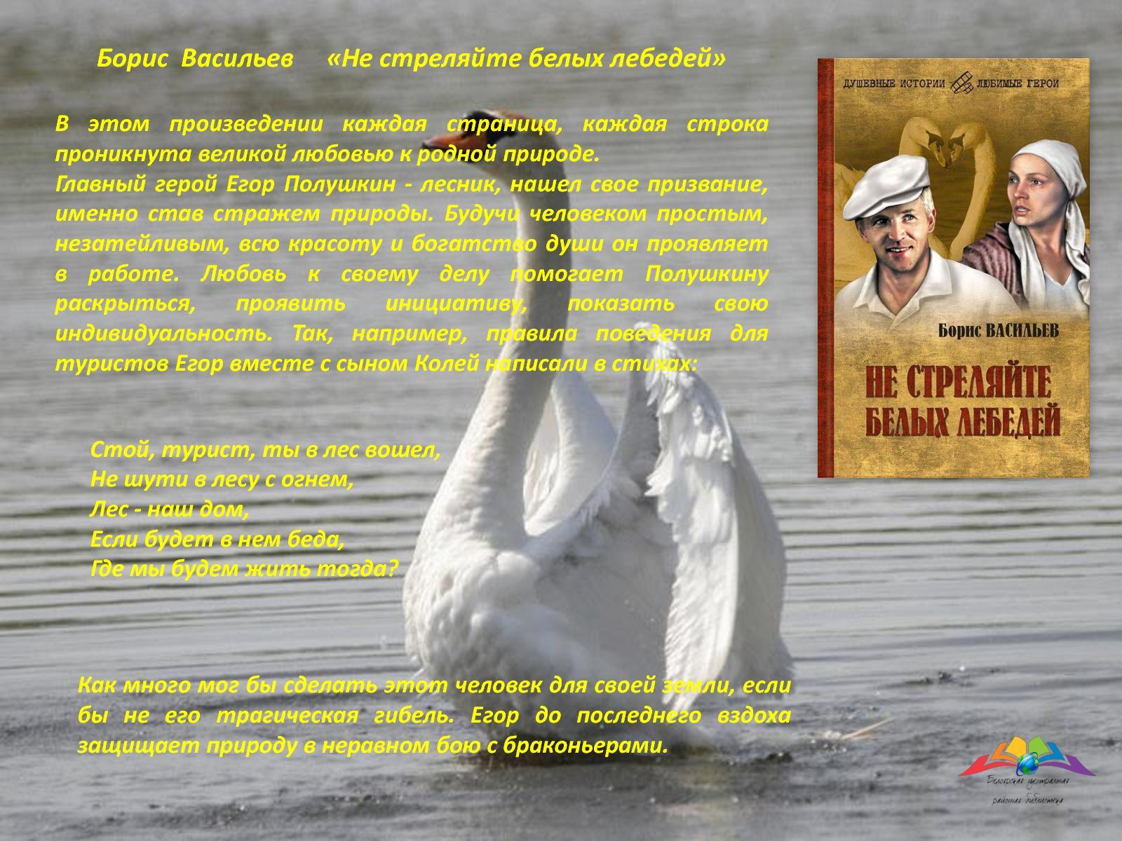 Не стреляйте в белых лебедей цитаты о природе