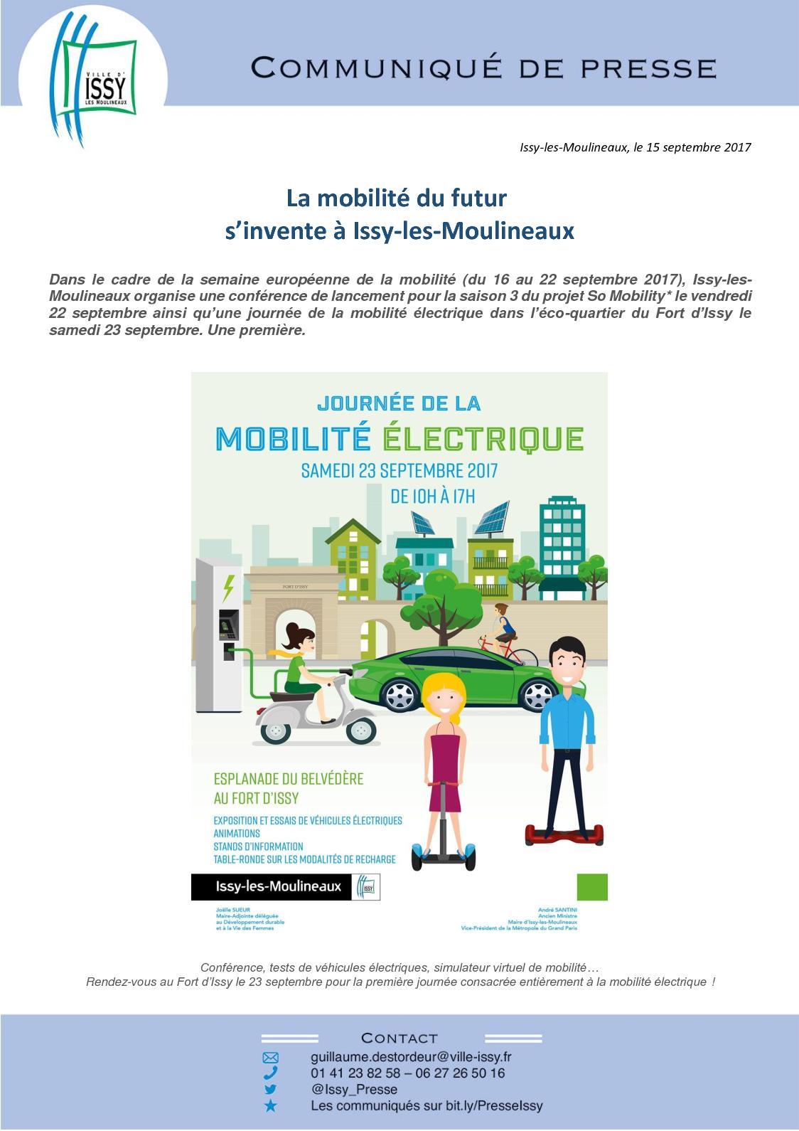 Calam o communiqu de presse la mobilit du futur s - Office du tourisme issy les moulineaux ...