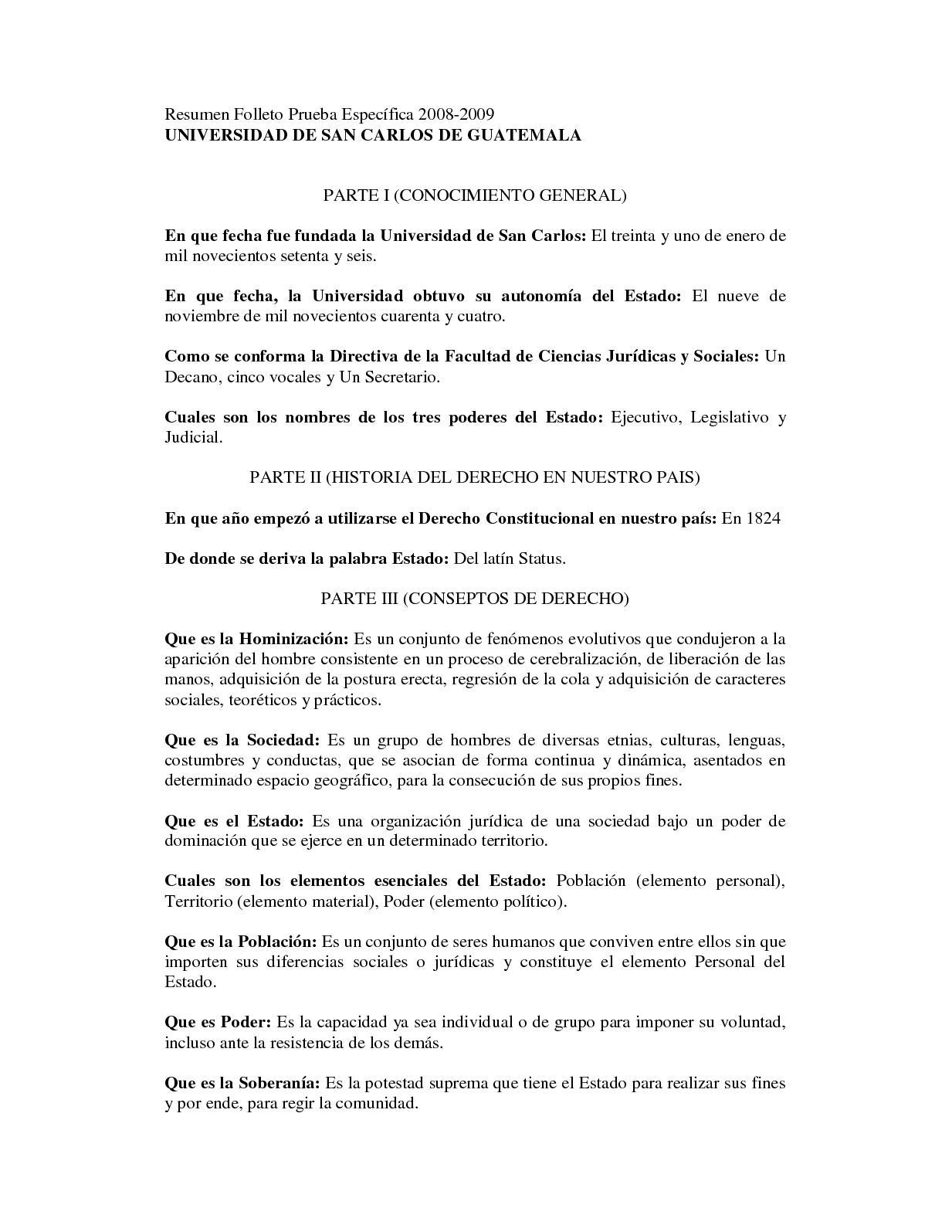 Cuestionario Prueba Especifica Derecho
