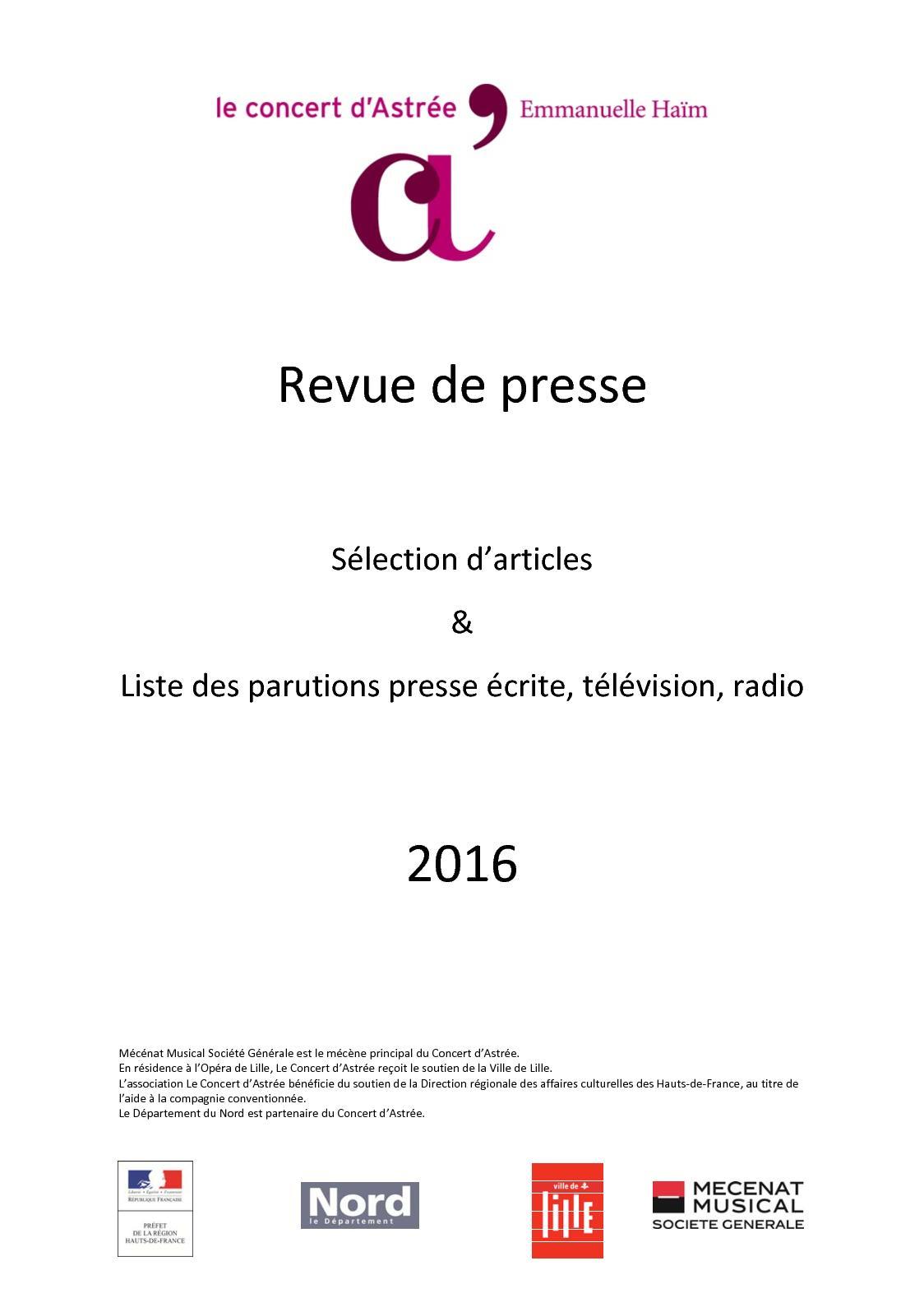 LCDA - Revue Presse 2016