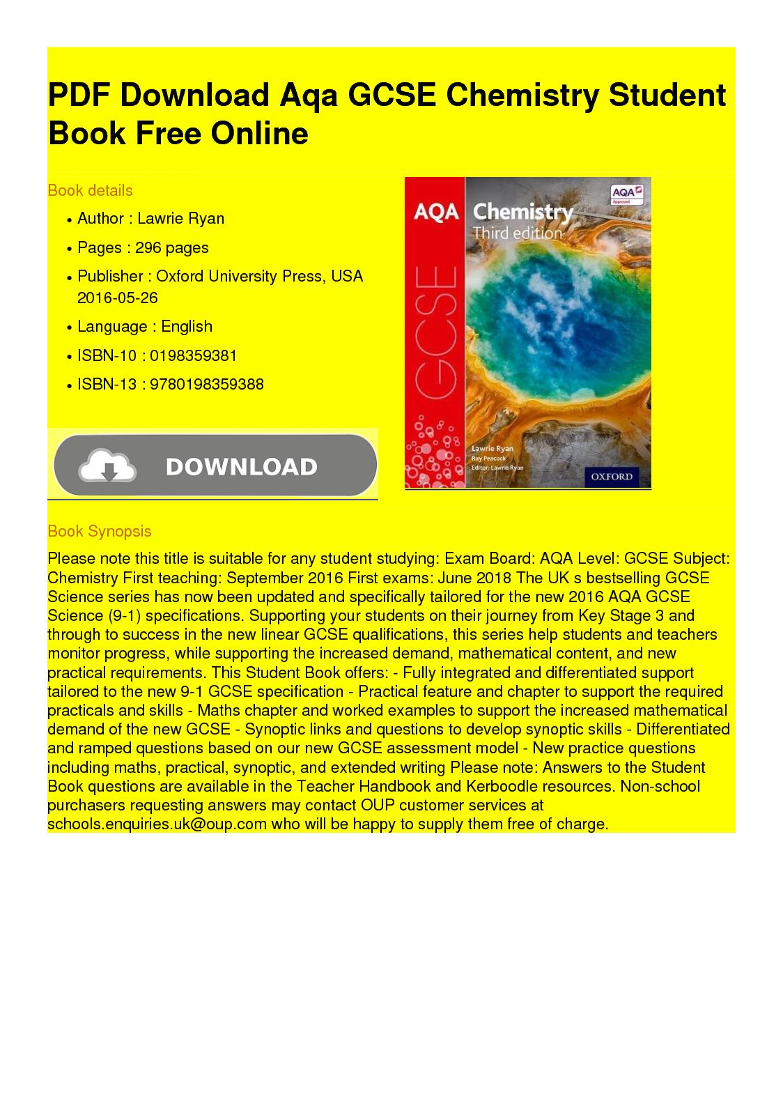 Ocr chemistry worksheets gcse