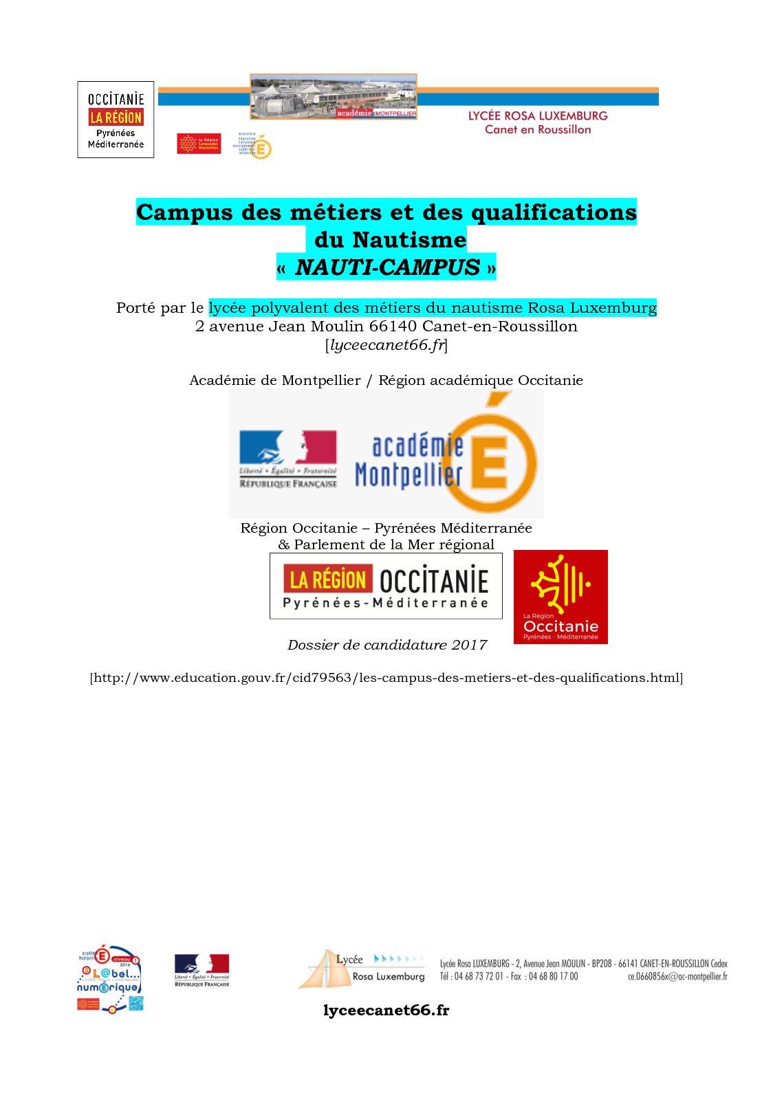 Projet Campus Des Metiers Du Nautisme