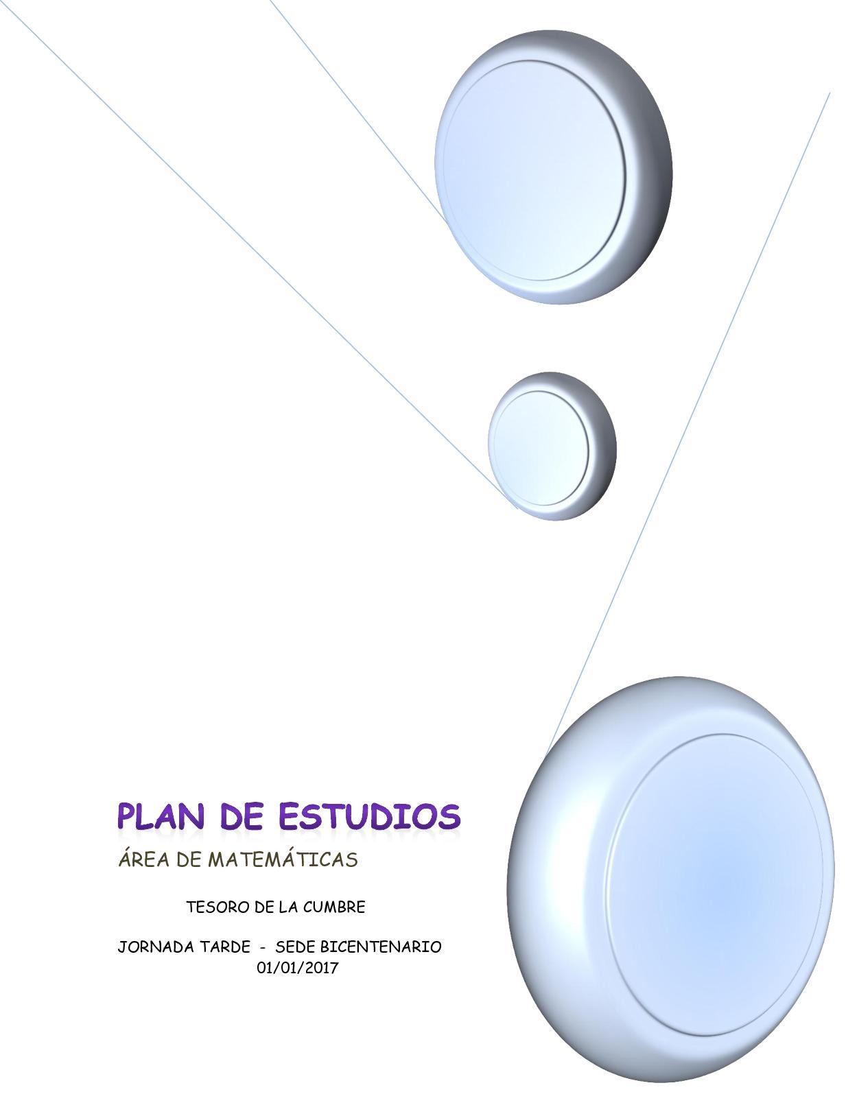 Plan De Estudios Area Matematicas