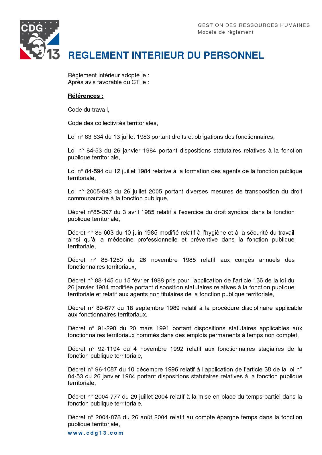 f6d08844650 Calaméo - Reglement Interieur Du Personnel Cdg 13