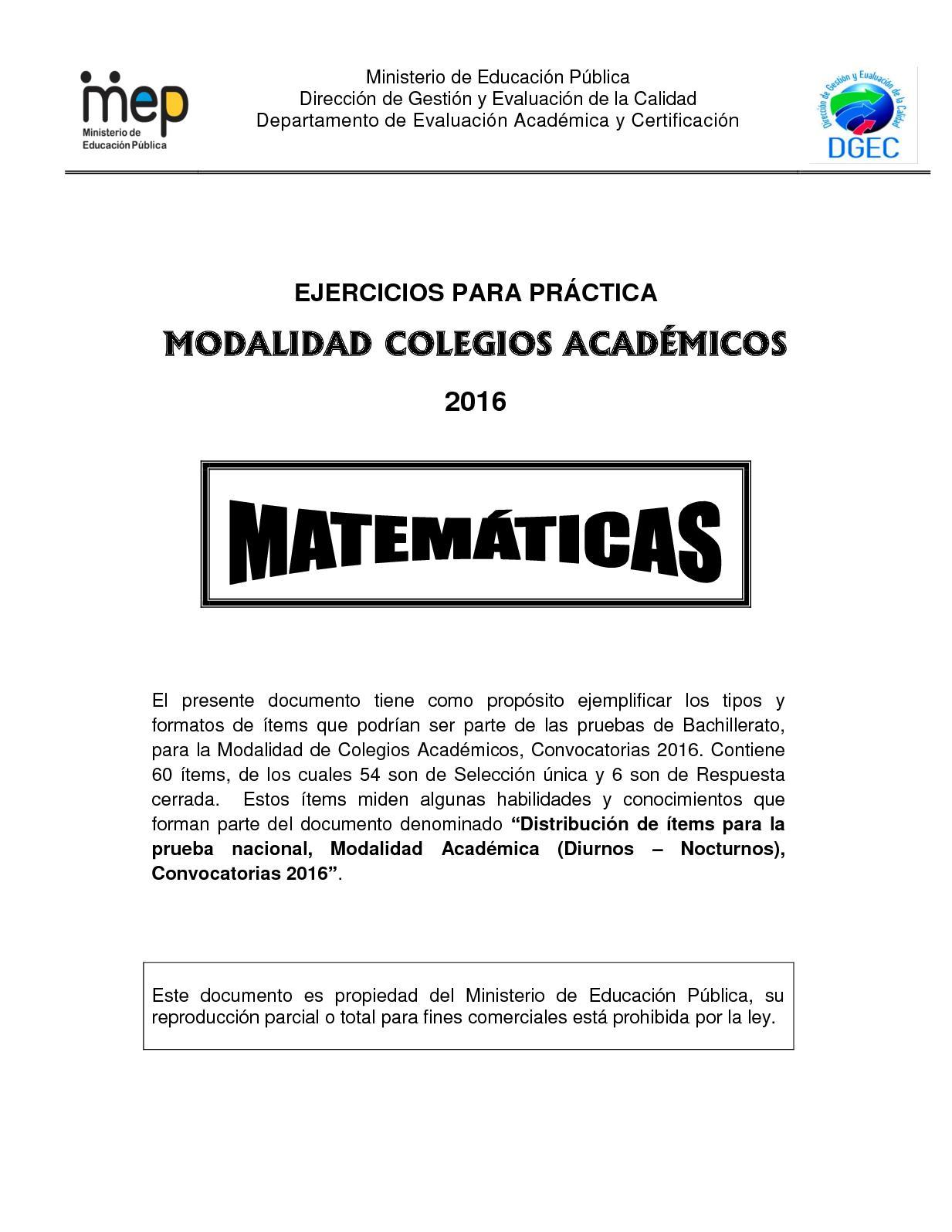 Practica  Matematica Bachillerato