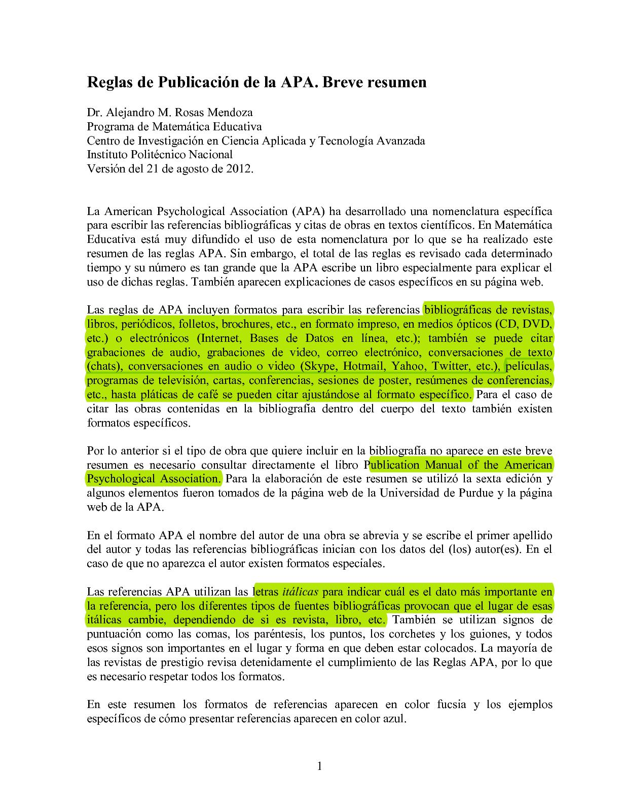 Calaméo - Reglas Apa Para Referencias Bibliograficas Y Citas V2012