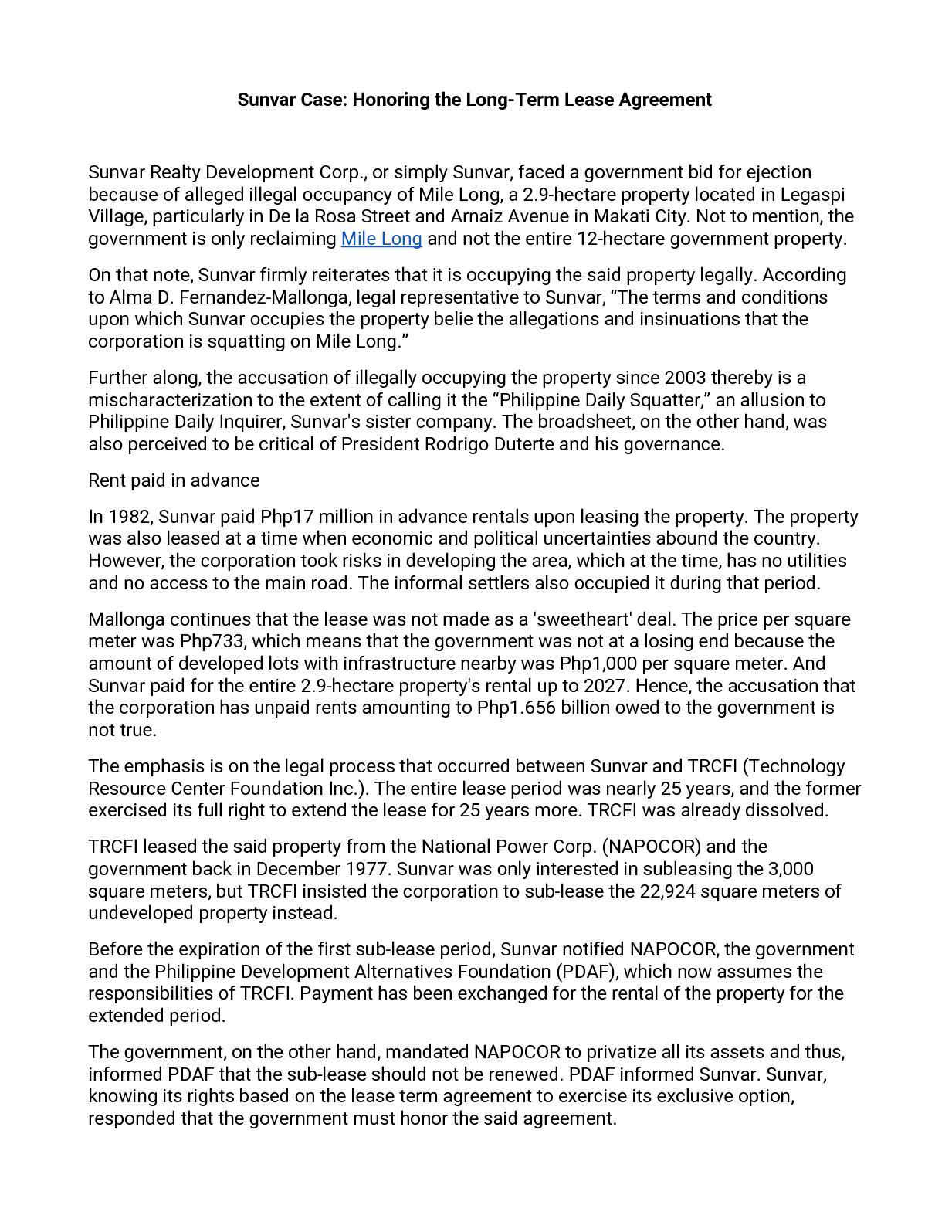 Calamo Sunvar Case Honoring The Long Term Lease Agreement