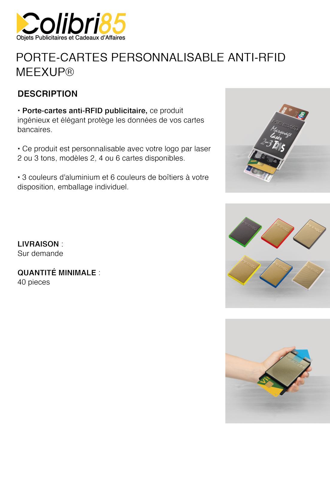 Calaméo Porte Cartes Personnalisable Anti Rfid Meexup - Porte carte anti rfid