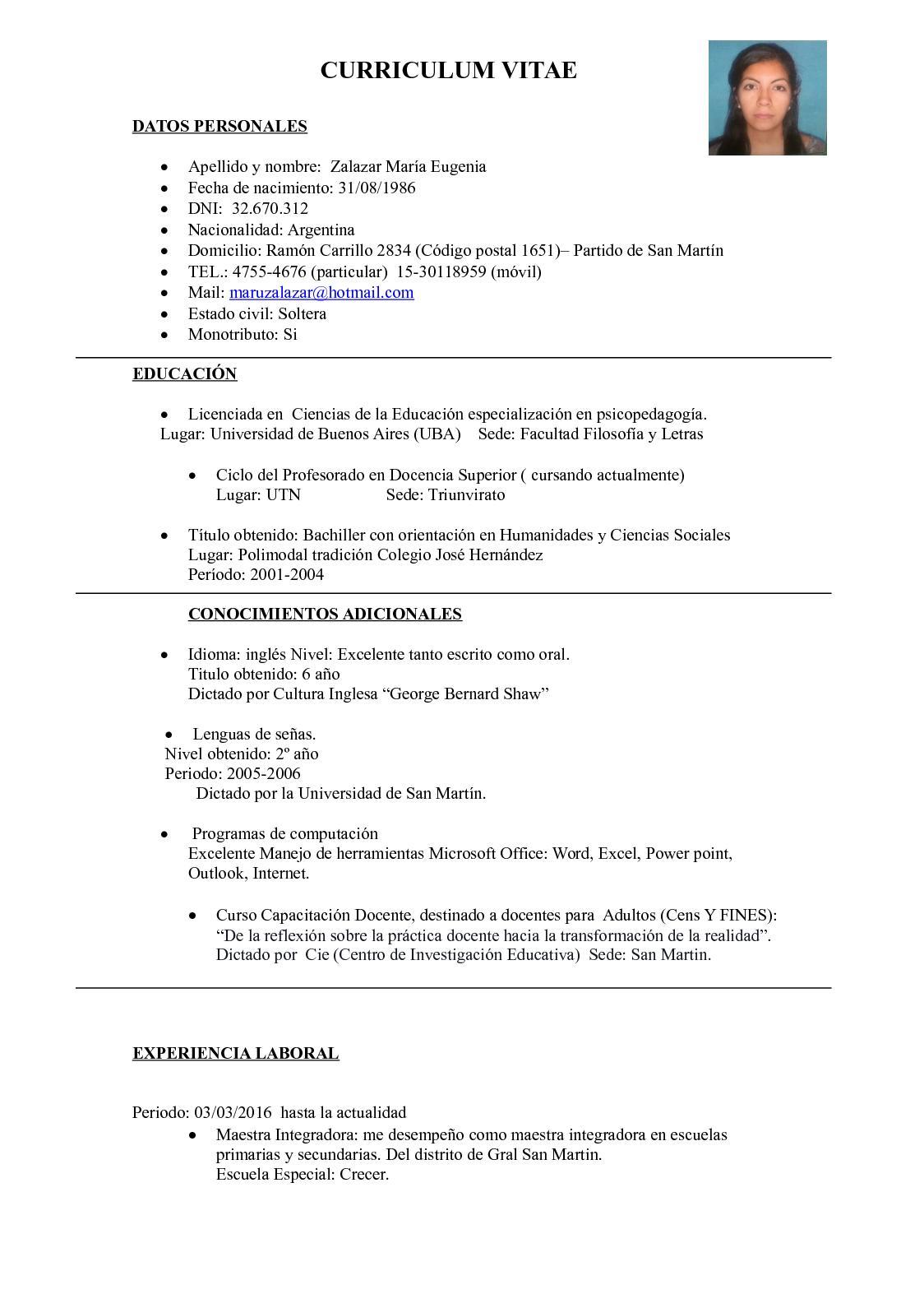 Calaméo - CV Zalazar M. Eugenia 1