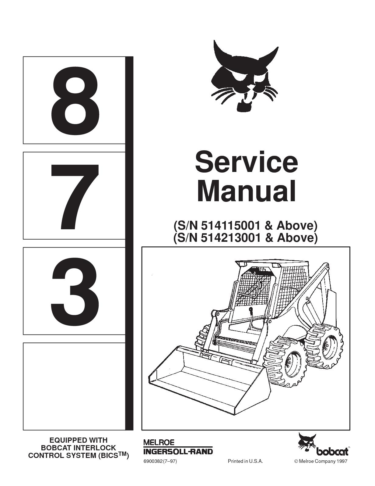 Calaméo - BOBCAT 873 SKID STEER LOADER Service Repair Manual SN 514115001 &  Above