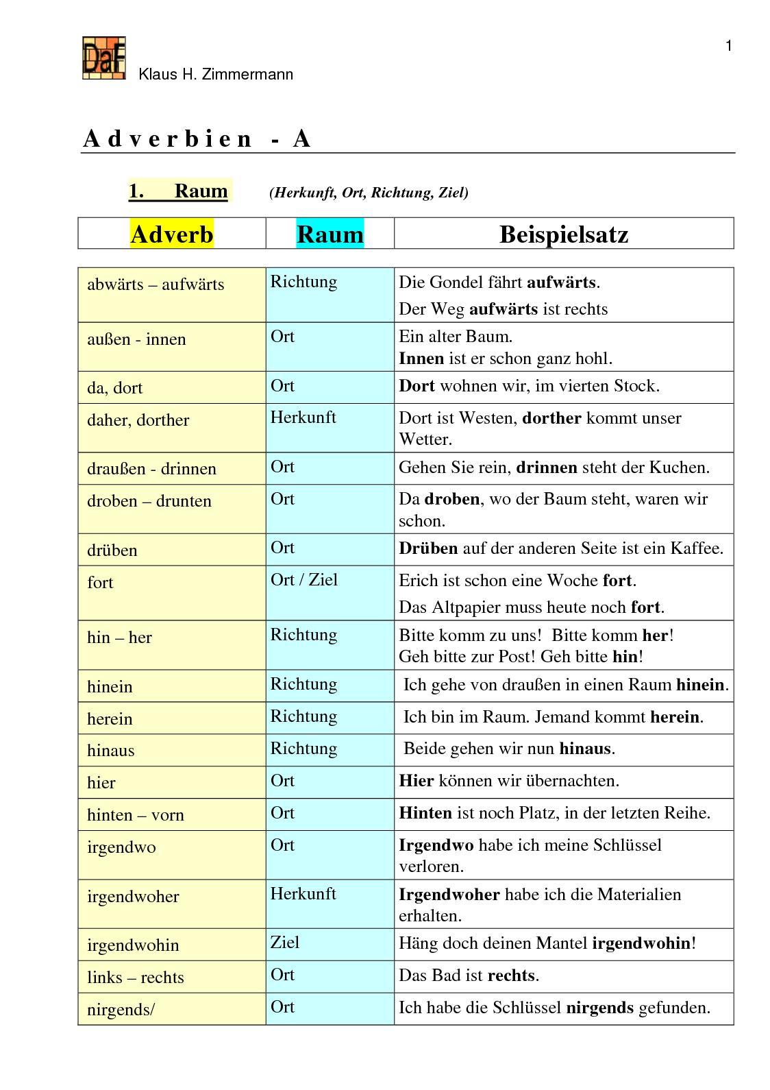 Calaméo - Adverbien, Klaus H. Zimmermann