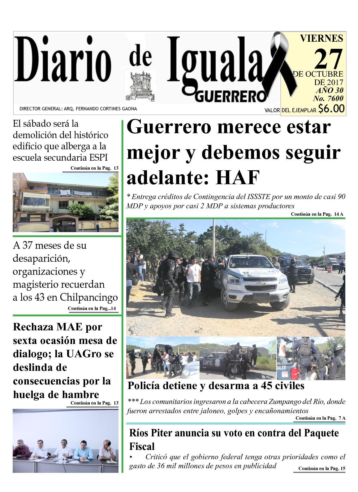 Diario De Iguala Viernes 27 De Octubre De 2017