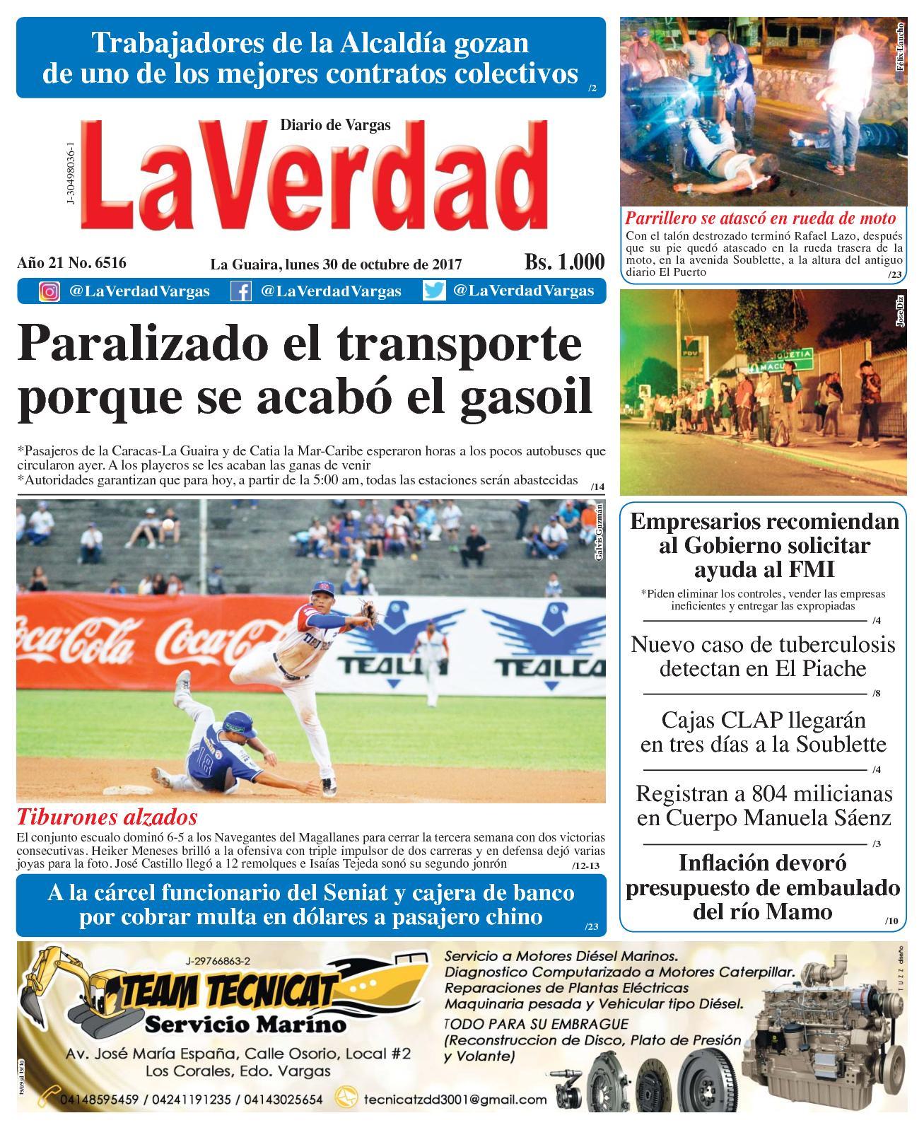La Guaira, lunes 30 de octubre de 2017. Año 20 No. 6516
