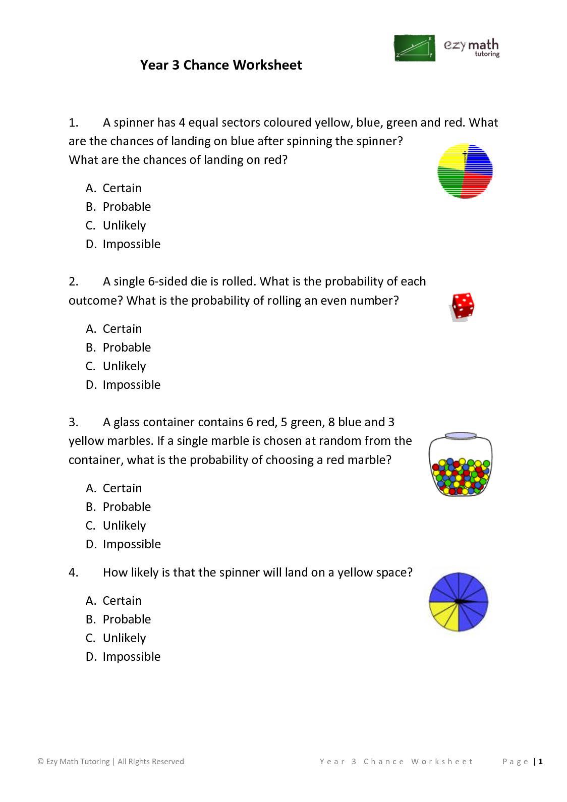 Chance Worksheet Year 1 Kidz Activities