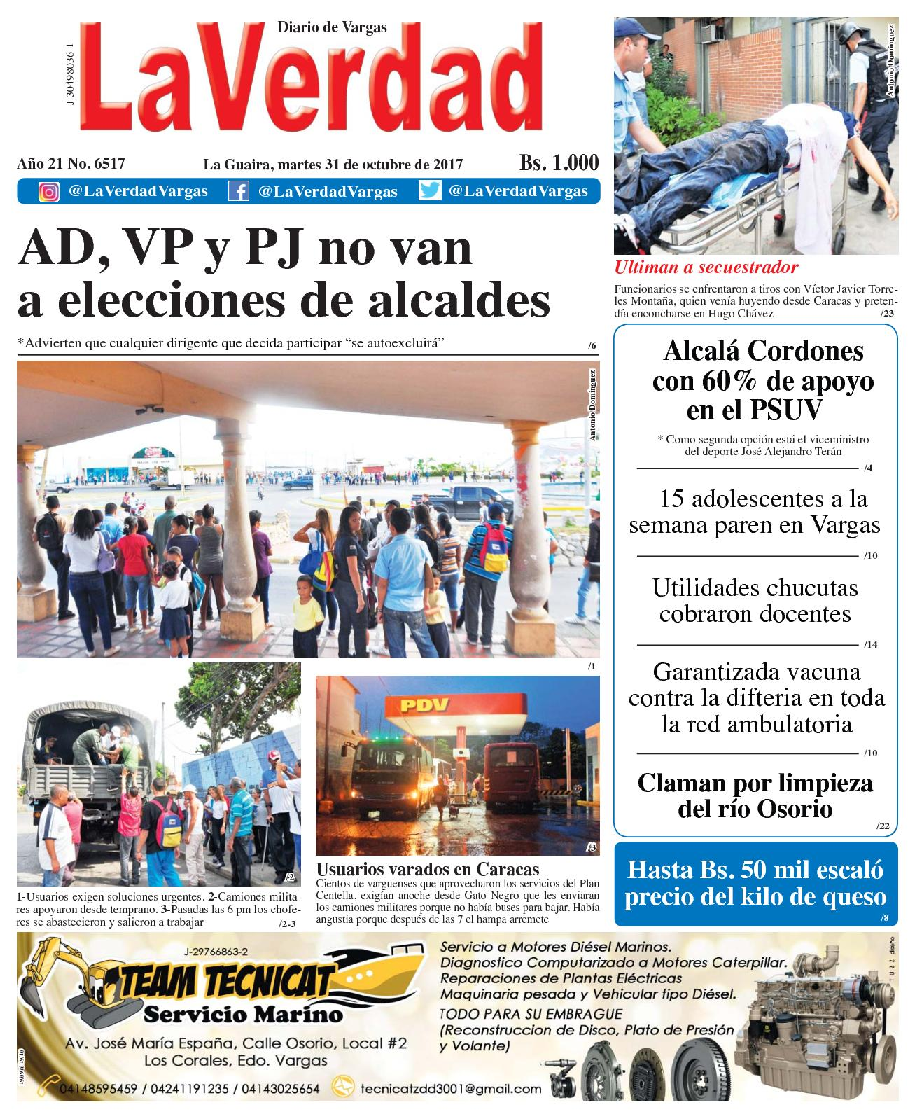 La Guaira, martes 31 de octubre de 2017. Año 20 No. 6517
