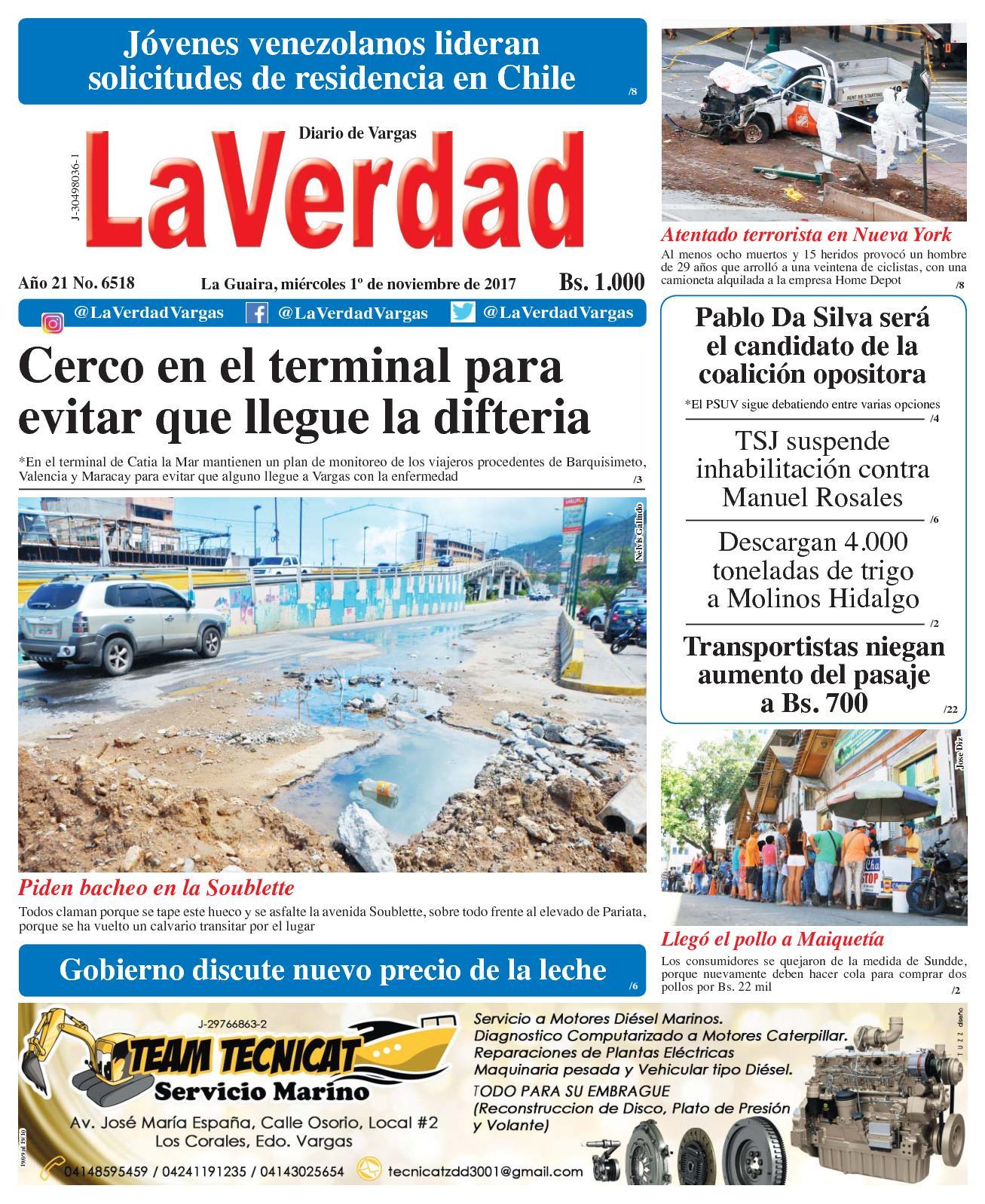 La Guaira, miércoles 1 de octubre de 2017. Año 20 No. 6518