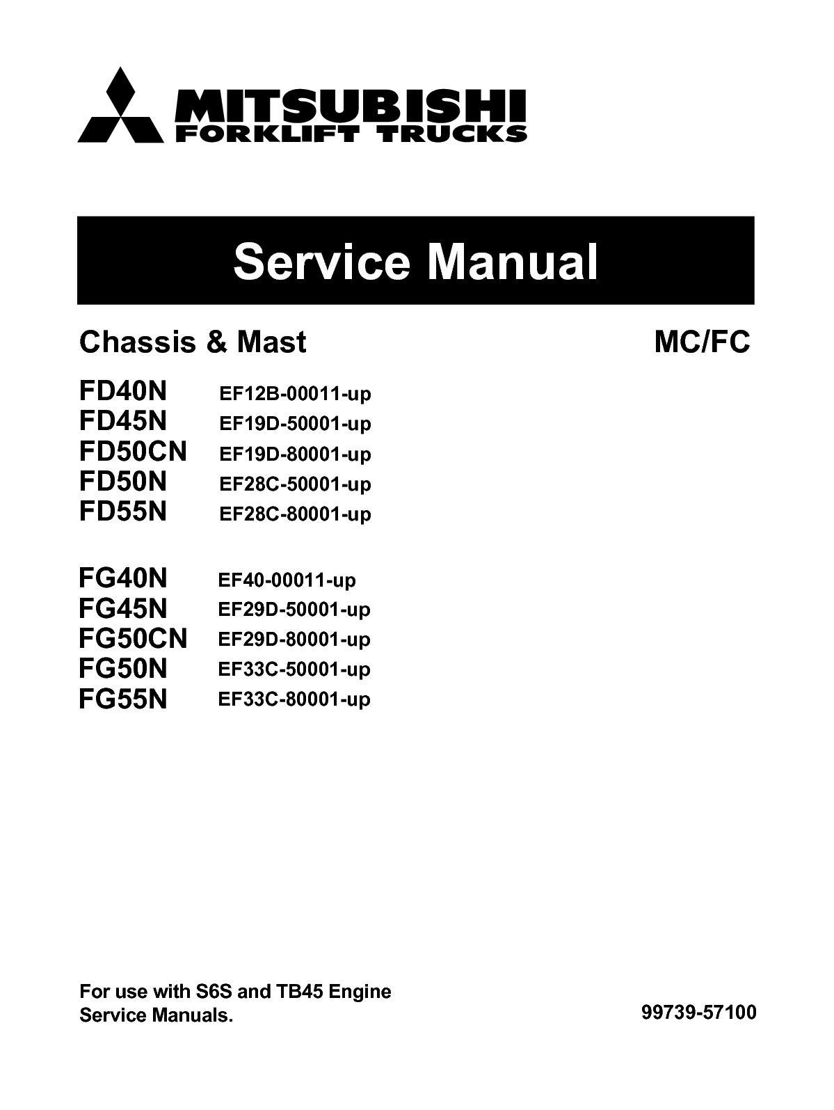 Calamo Mitsubishi Fg55n Forklift Trucks Service Repair Manual Sn Old Wiring Diagram For Ef33c 80001 Up