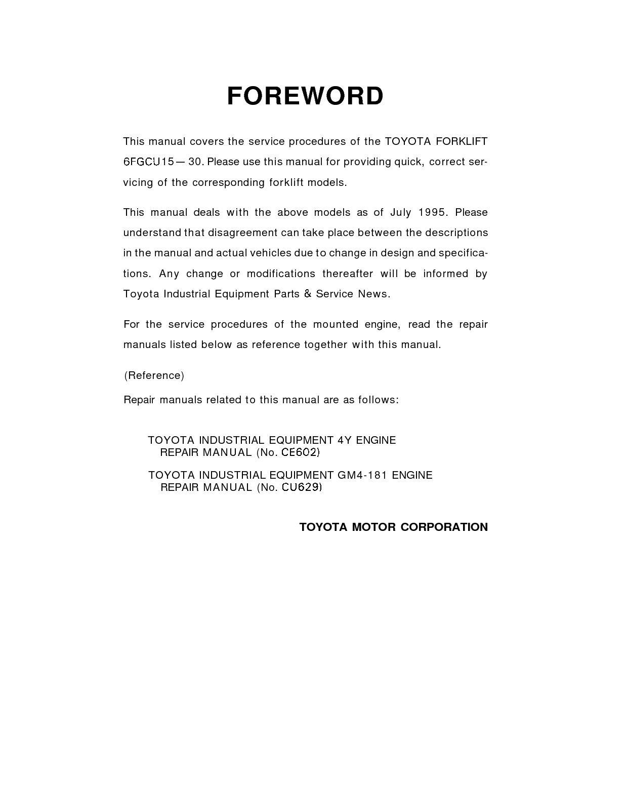 Calamo Toyota 42 6fgcu30 Forklift Service Repair Manual How Timing 4y Engine