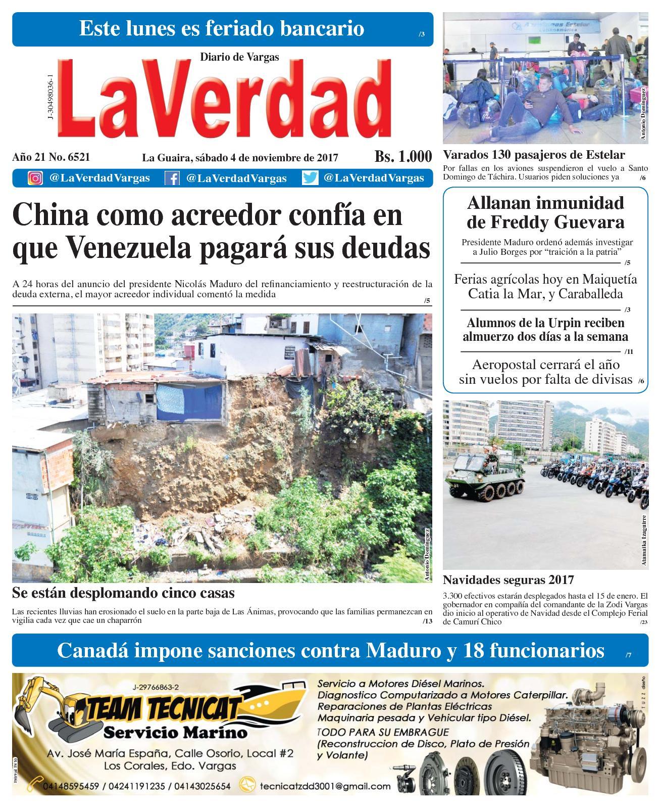 La Guaira, sábado 4 de Noviembre de 2017. Año 20 No. 6521