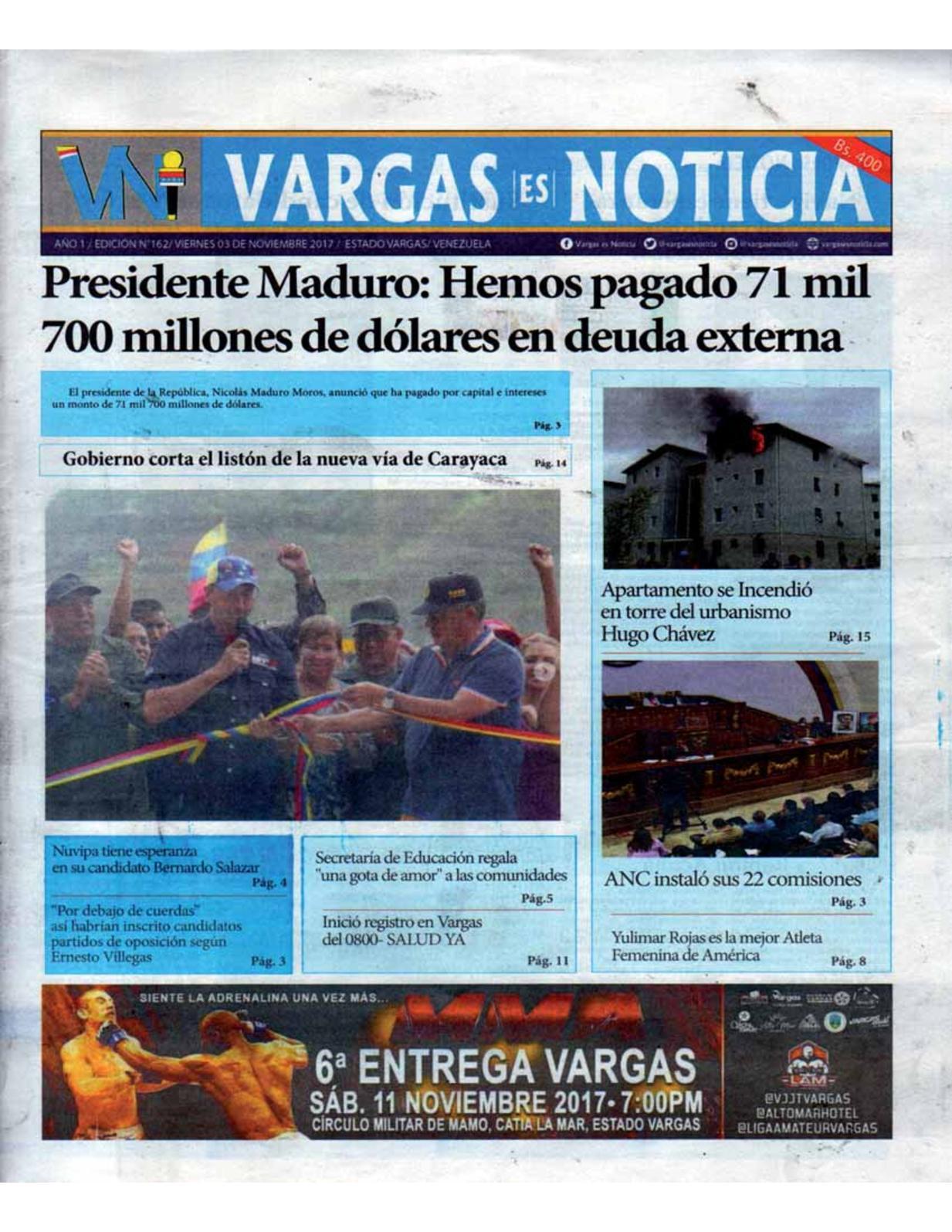 Vargas es Noticia, viernes 3 de octubre de 2017 N° 162