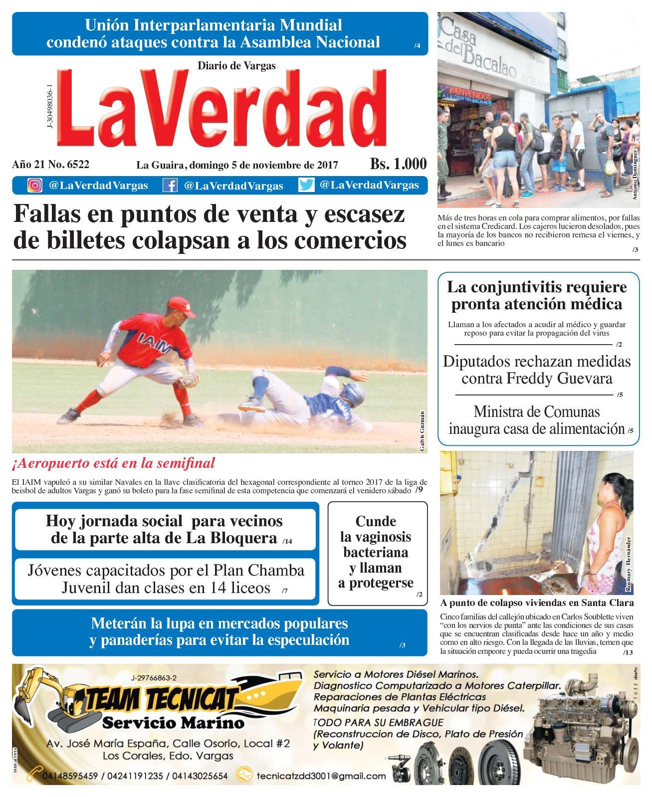 La Guaira, domingo 5 de Noviembre de 2017. Año 20 No. 6522