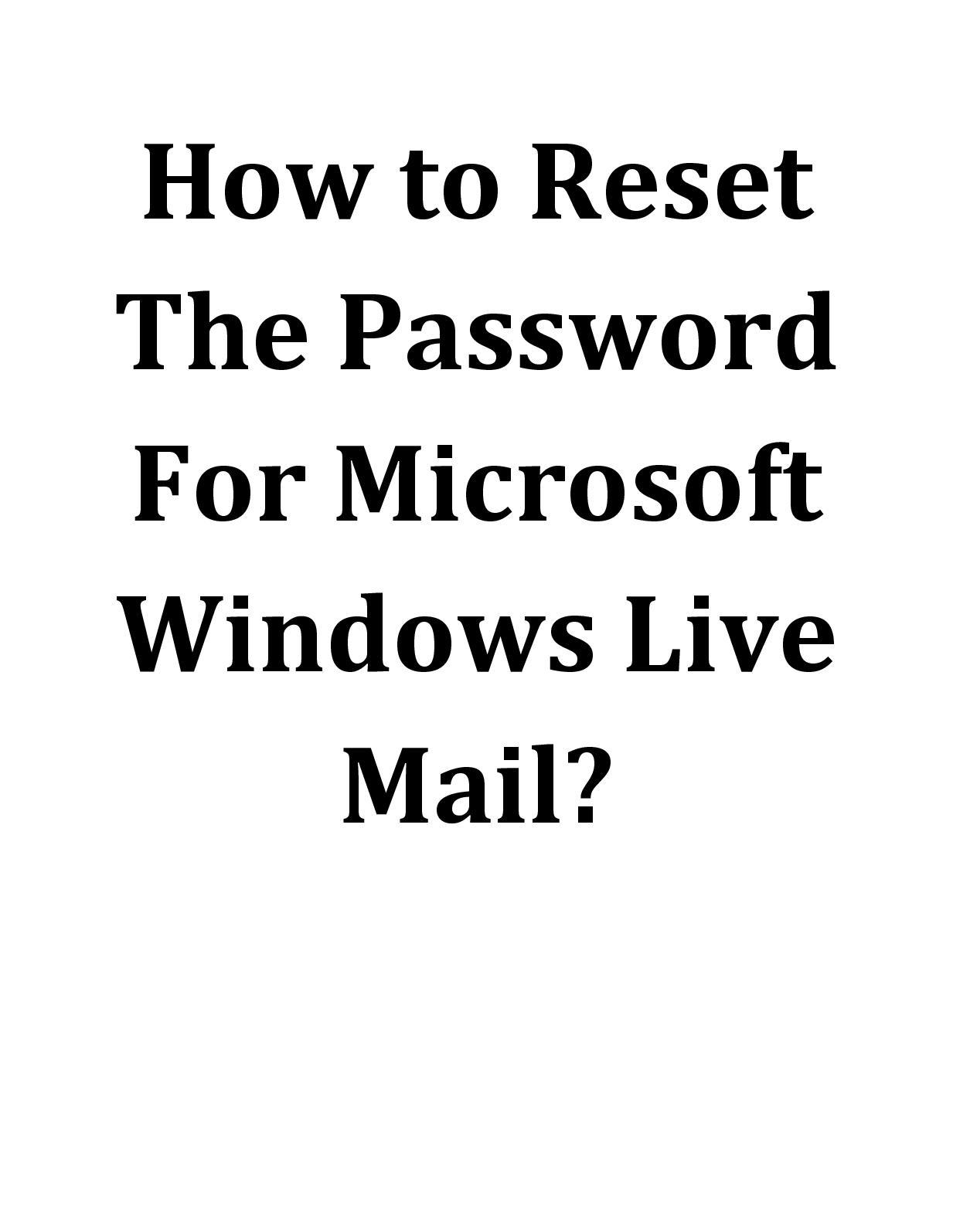 forgotten password on windows live mail