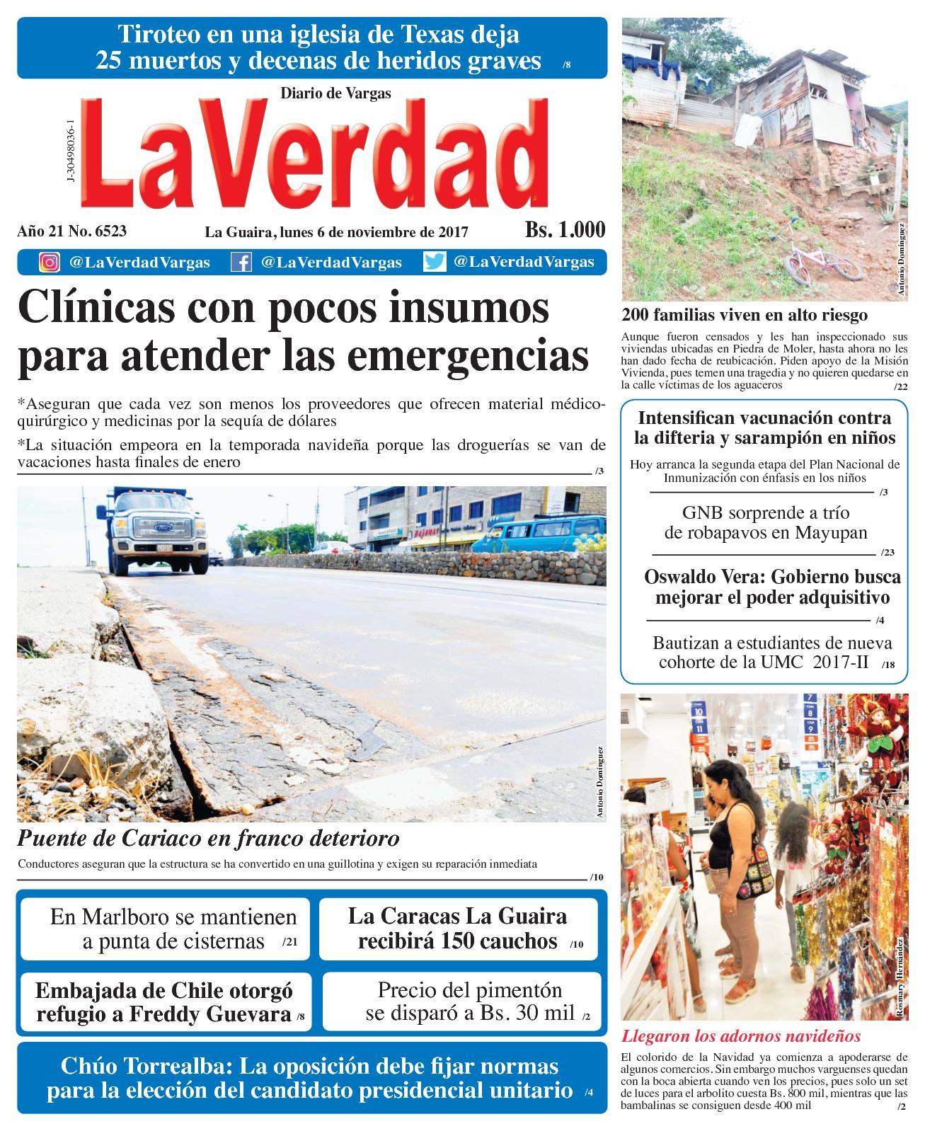 La Guaira, lunes 6 de Noviembre de 2017. Año 20 No. 6523