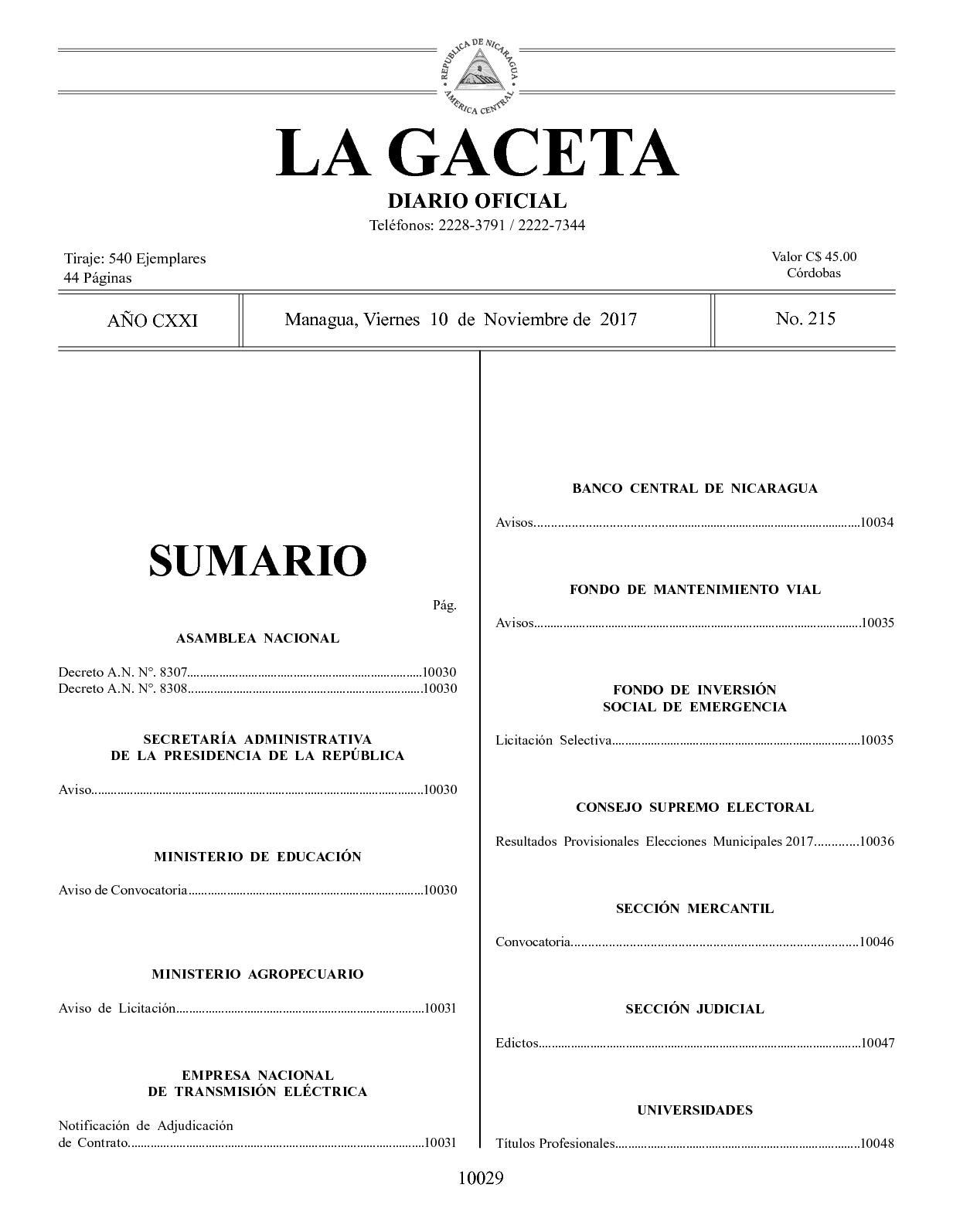 Gaceta No 215 Viernes 10 De Noviembre De 2017