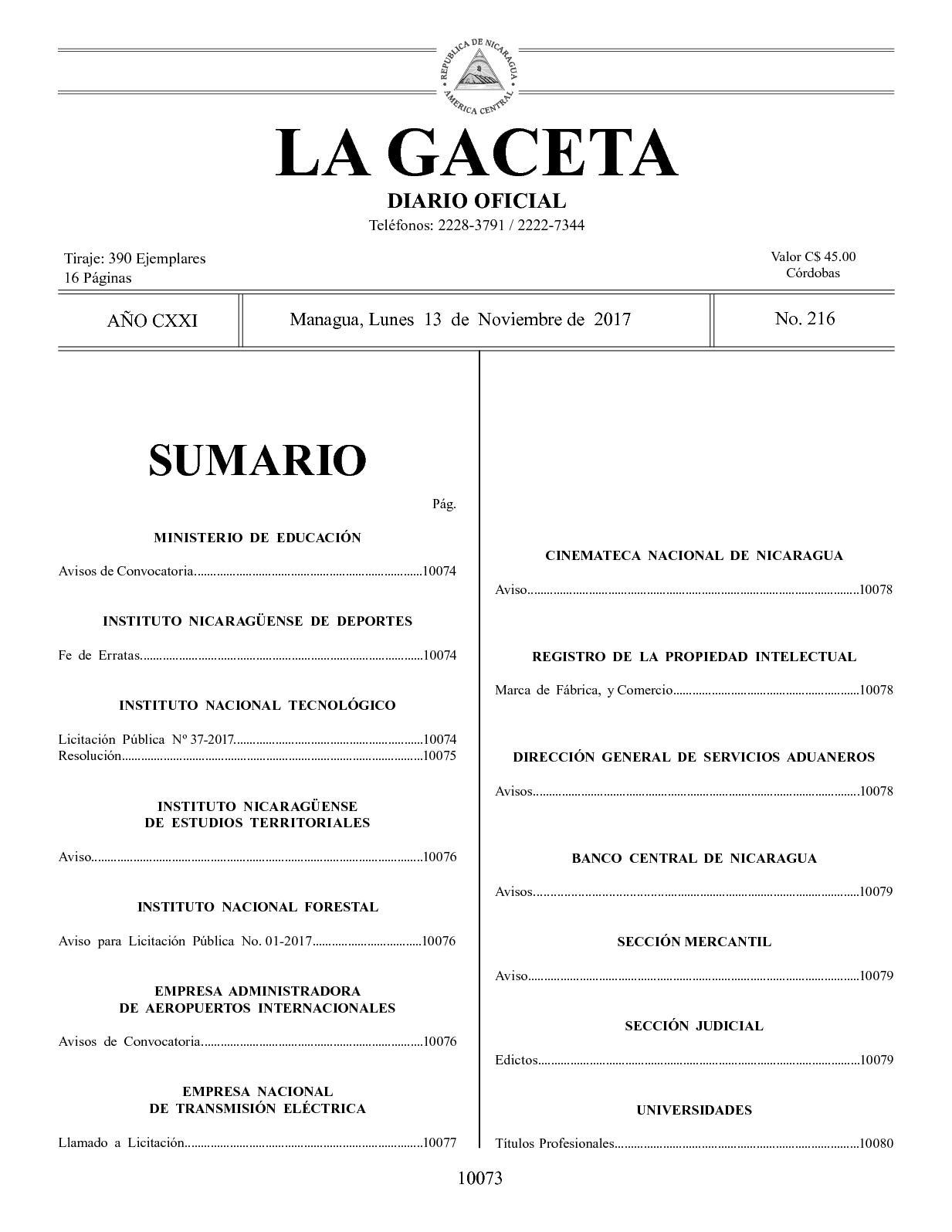 Gaceta No 216 Lunes 13 De Noviembre De 2017