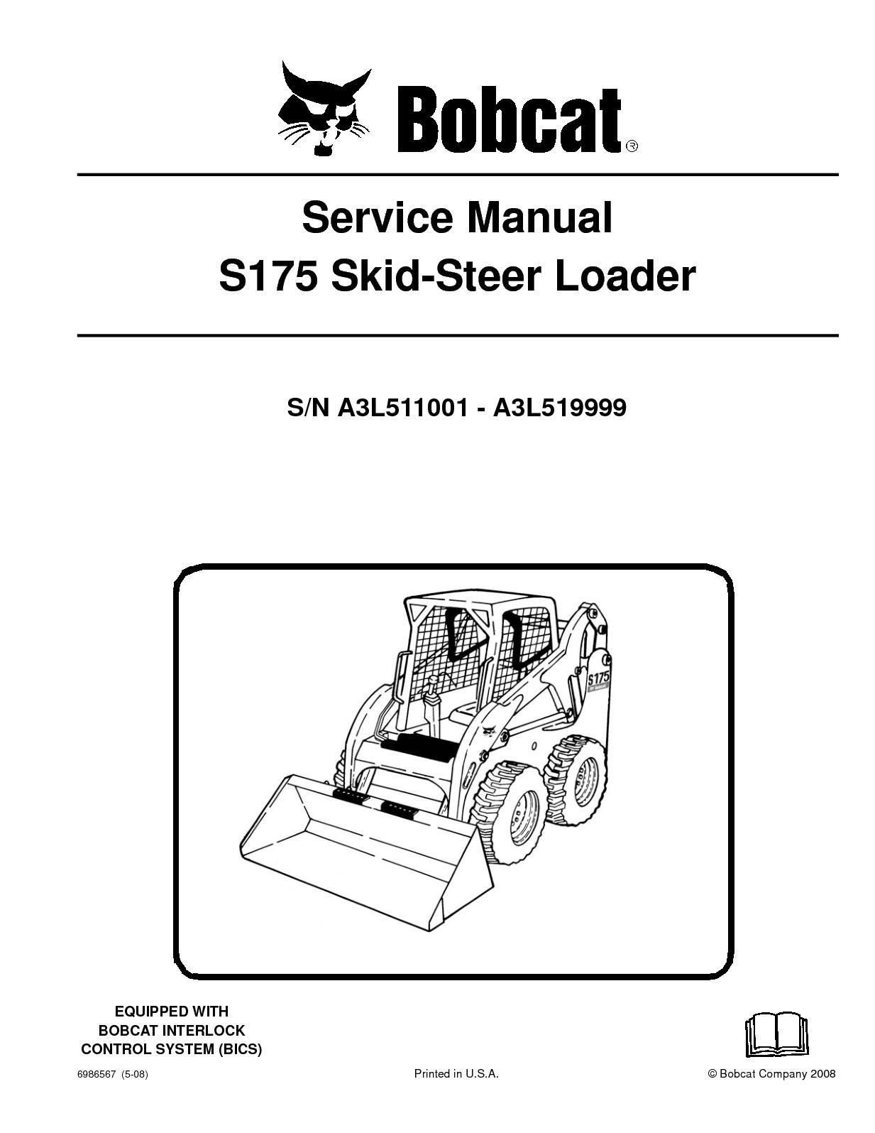 Bobcat S 175 Wire Diagram Wiring Diagrams S175 Calamo Skid Steer Loader Service Repair Manual Sn 763 Parts