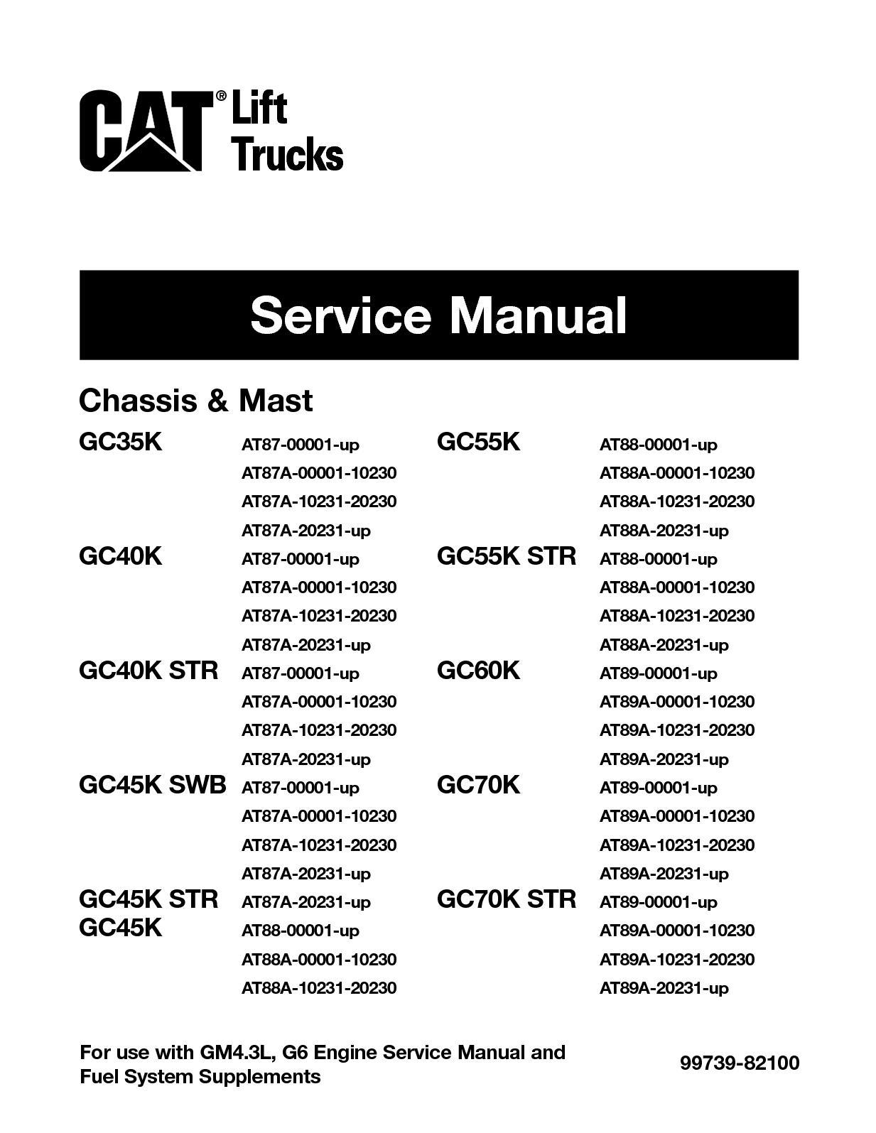 Calamo Caterpillar Cat Gc45k Swb Forklift Lift Trucks Service Hydraulic Control Valve Diagram Mast Repair Manual Snat87a 00001 10230
