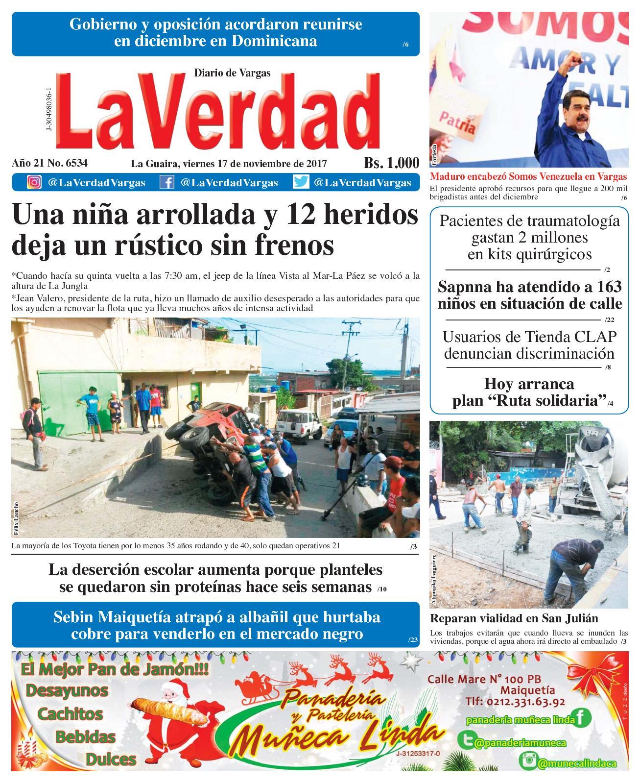 La Guaira, Viernes 17 de Noviembre De 2017 Año 20 No 6534