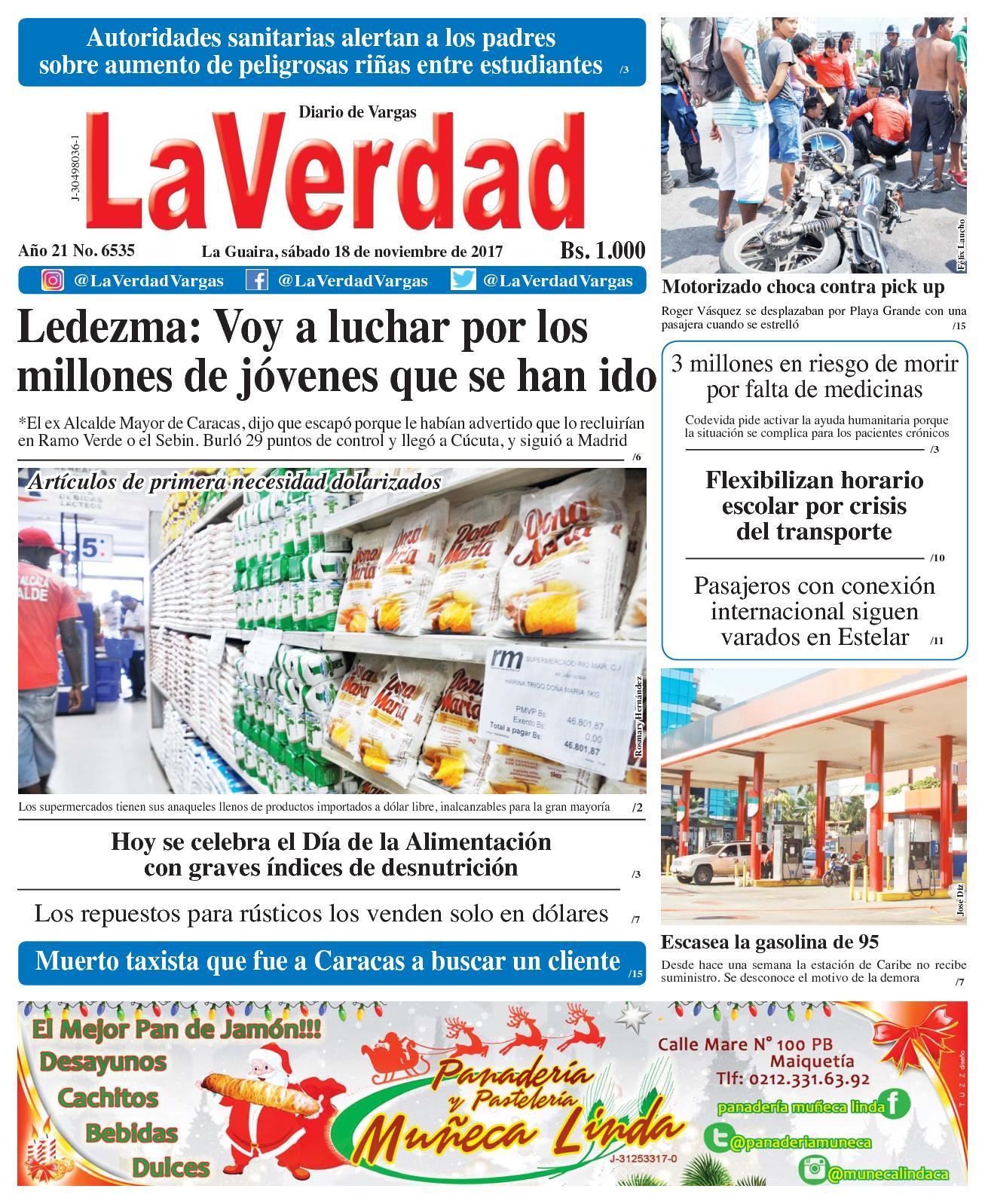 La Guaira, sábado 18 De Noviembre De 2017 . Año 20 No 6535