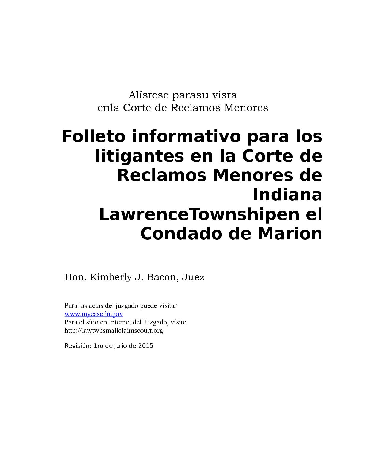 Calaméo - Small Claims Booklet In Spanish