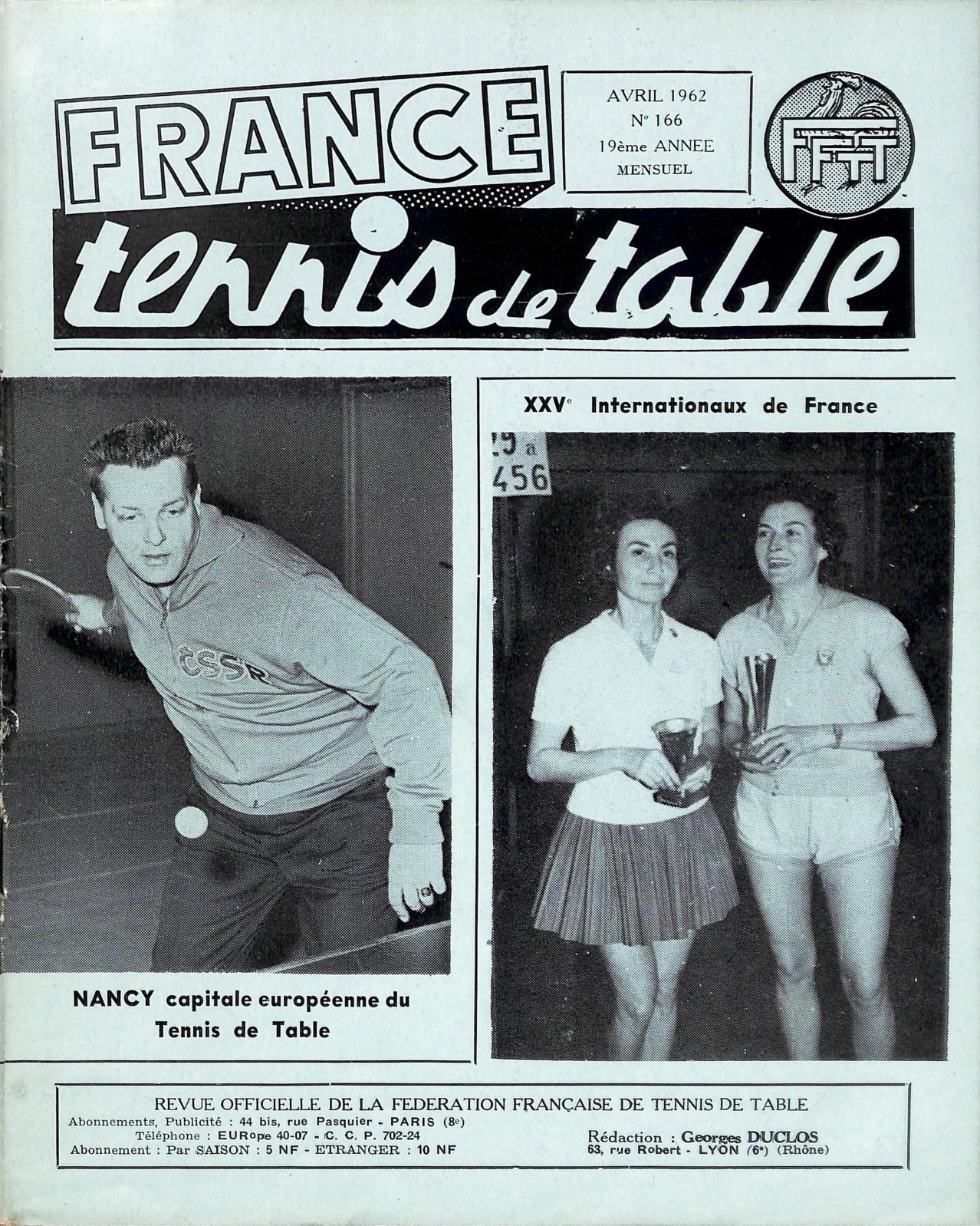 Calam o 1962 04 166 france tennis de table - Federation francaise tennis de table ...