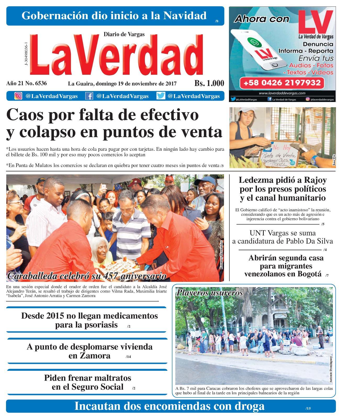 La Guaira, domingo 19 de Noviembre De 2017 . Año 20 No 6536