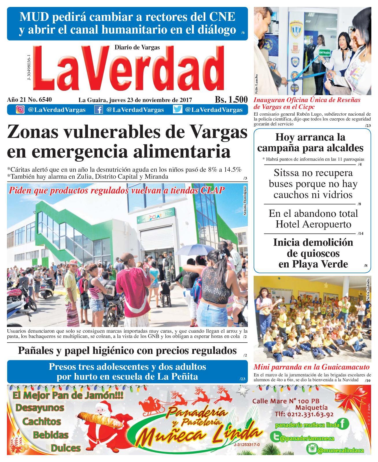 La Guaira, jueves 23 de Noviembre De 2017 . Año 20 No 6540
