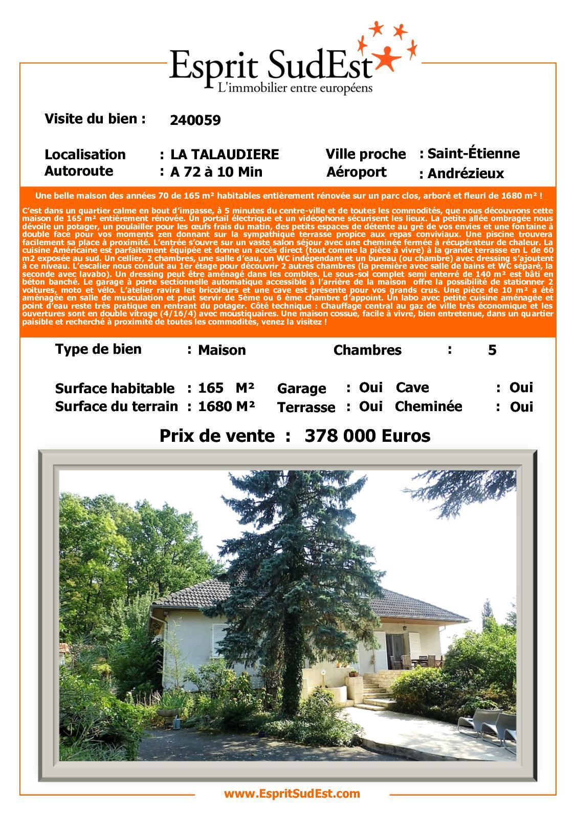 Calam o une belle maison des ann es 70 de 165 m for Piscine la talaudiere