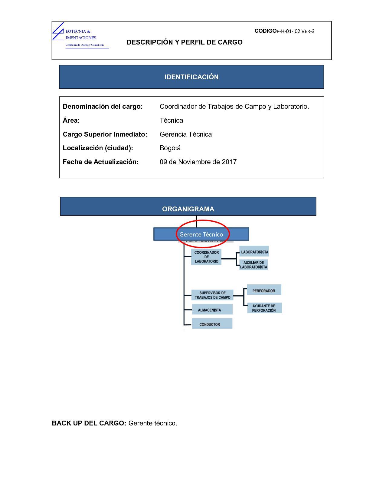 Calaméo - Descripción De Cargo Coordinador De Trabajos De Campo Y ...