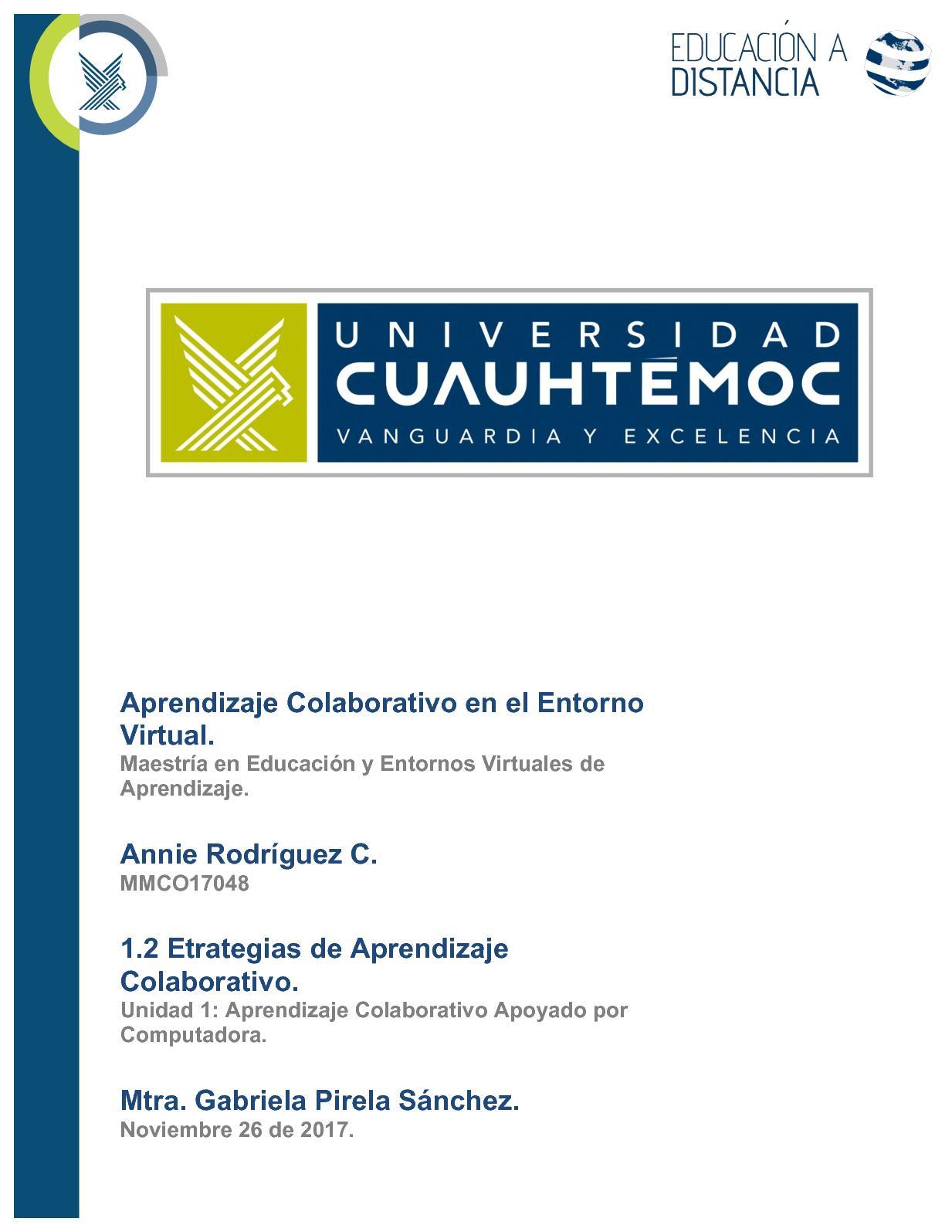 Estrategias De Aprendizaje Colaborativo. Annie Rodríguez C.