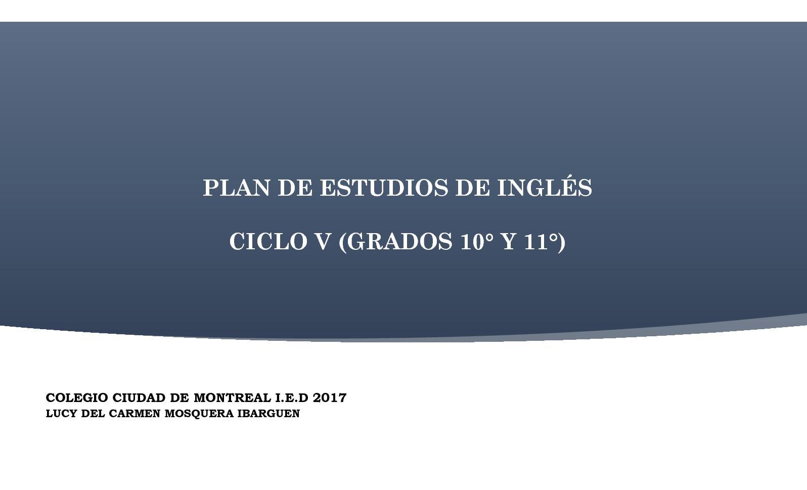 Calaméo - Malla Curricular Y Plan De Estudios Para Inglés 10° Y 11°