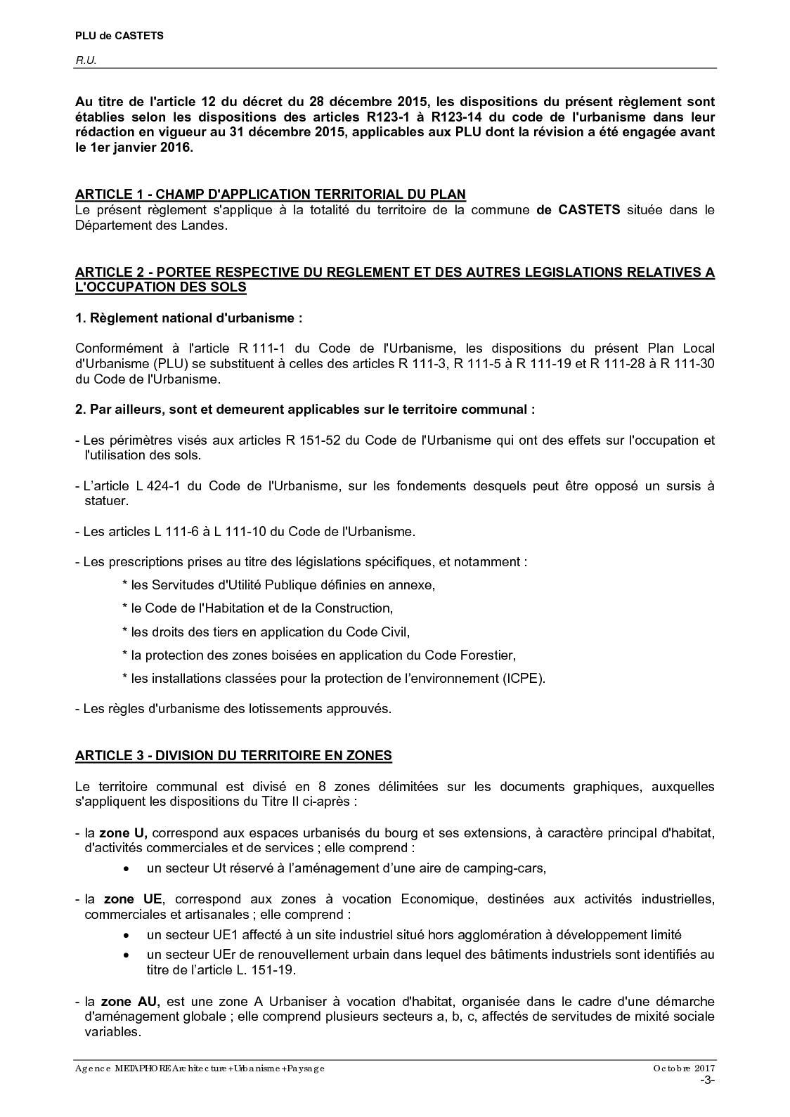 R Glement D Urbanisme Castets Calameo Downloader # Prescription Urbanistique Abris De Jardin